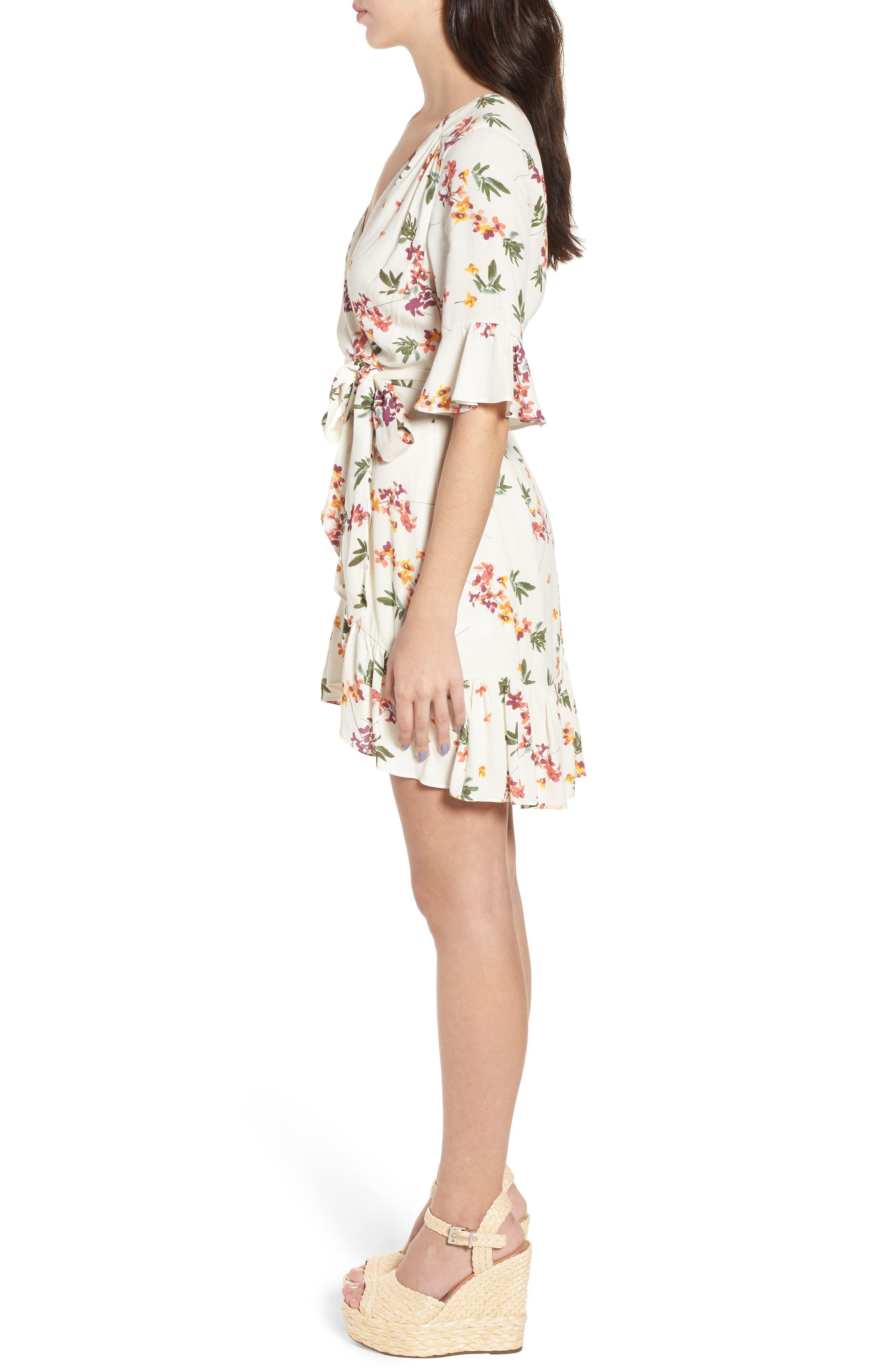 Regina Floral Wrap Minidress,                             Alternate thumbnail 4, color,                             Creme Multi