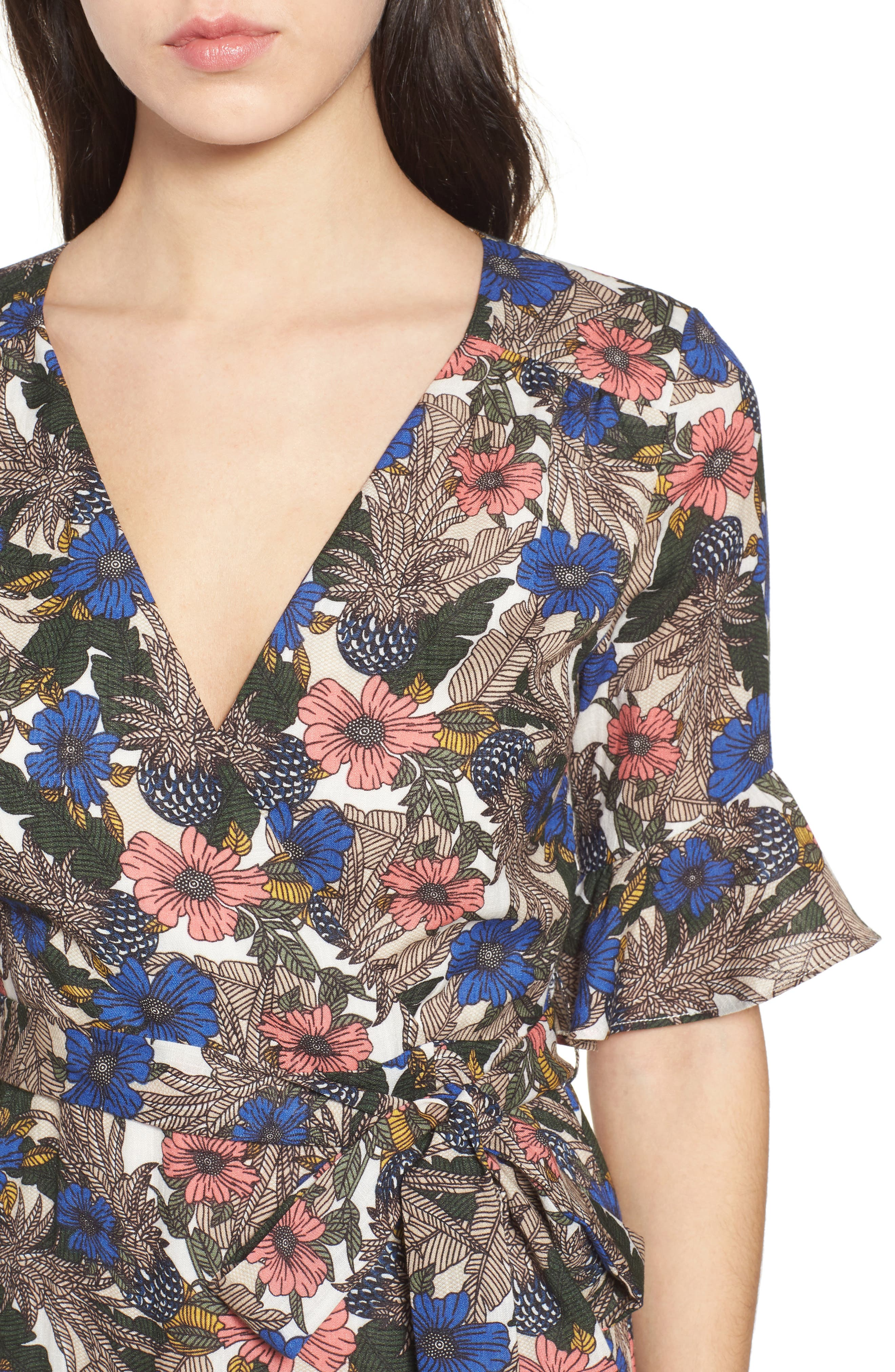 Siesta Wrap Minidress,                             Alternate thumbnail 5, color,                             Blue Multi