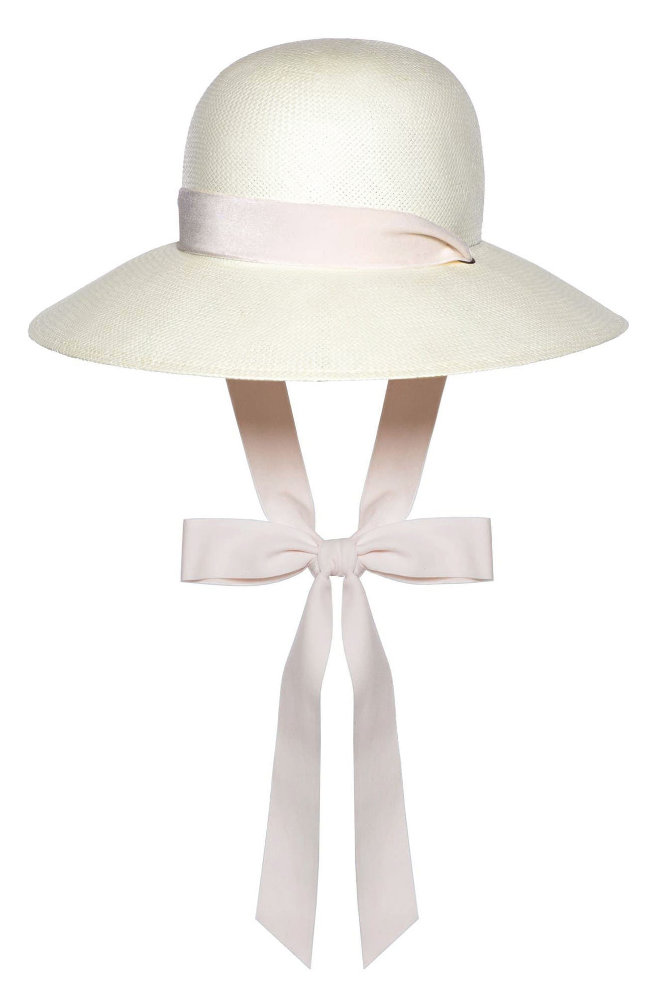 The Empress Velvet Ribbon Hat,                         Main,                         color, Ivory