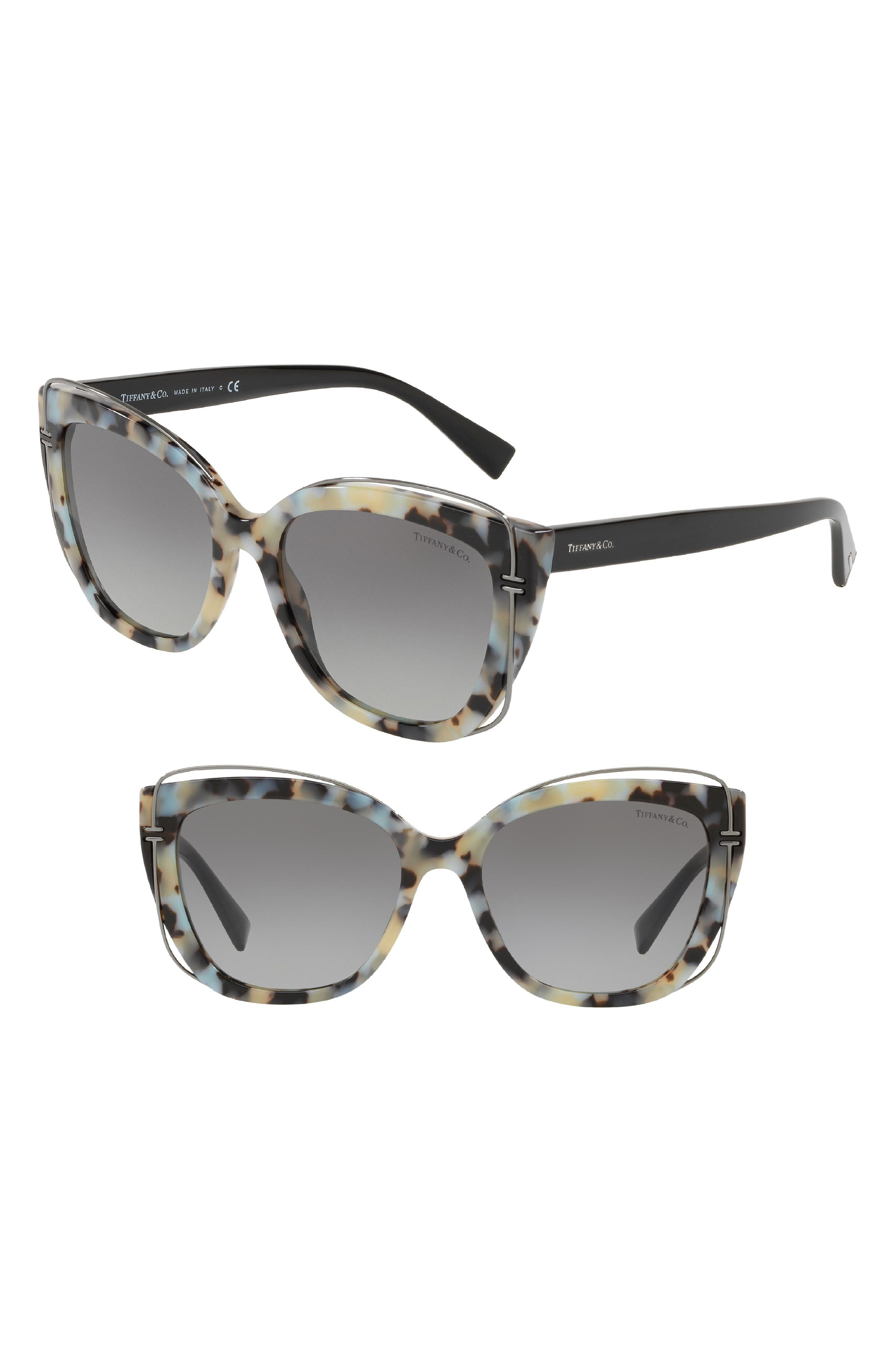 54mm Gradient Cat Eye Sunglasses,                             Main thumbnail 1, color,                             Beige Havana Gradient