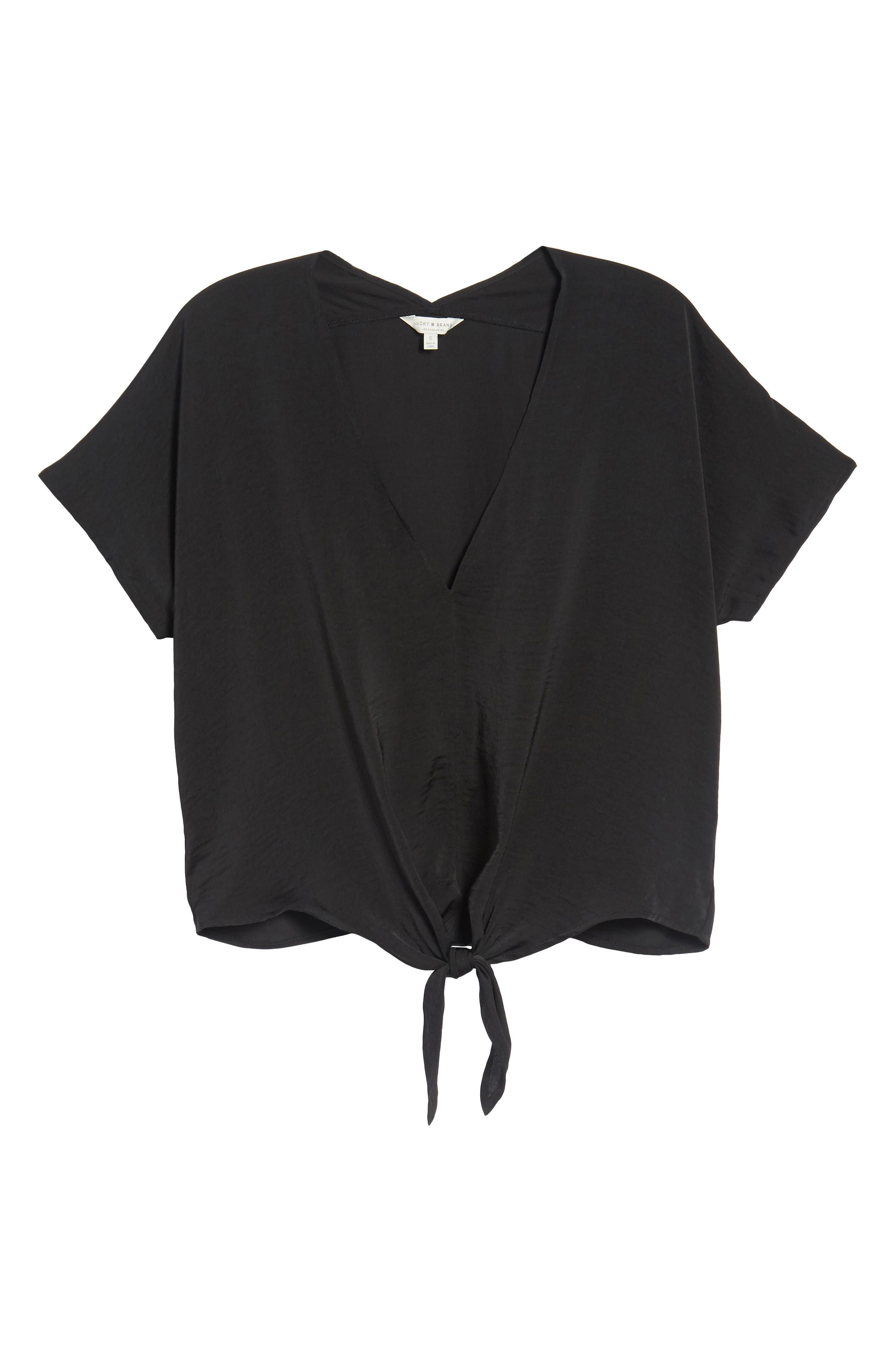 Tie Front Top,                             Alternate thumbnail 6, color,                             Lucky Black