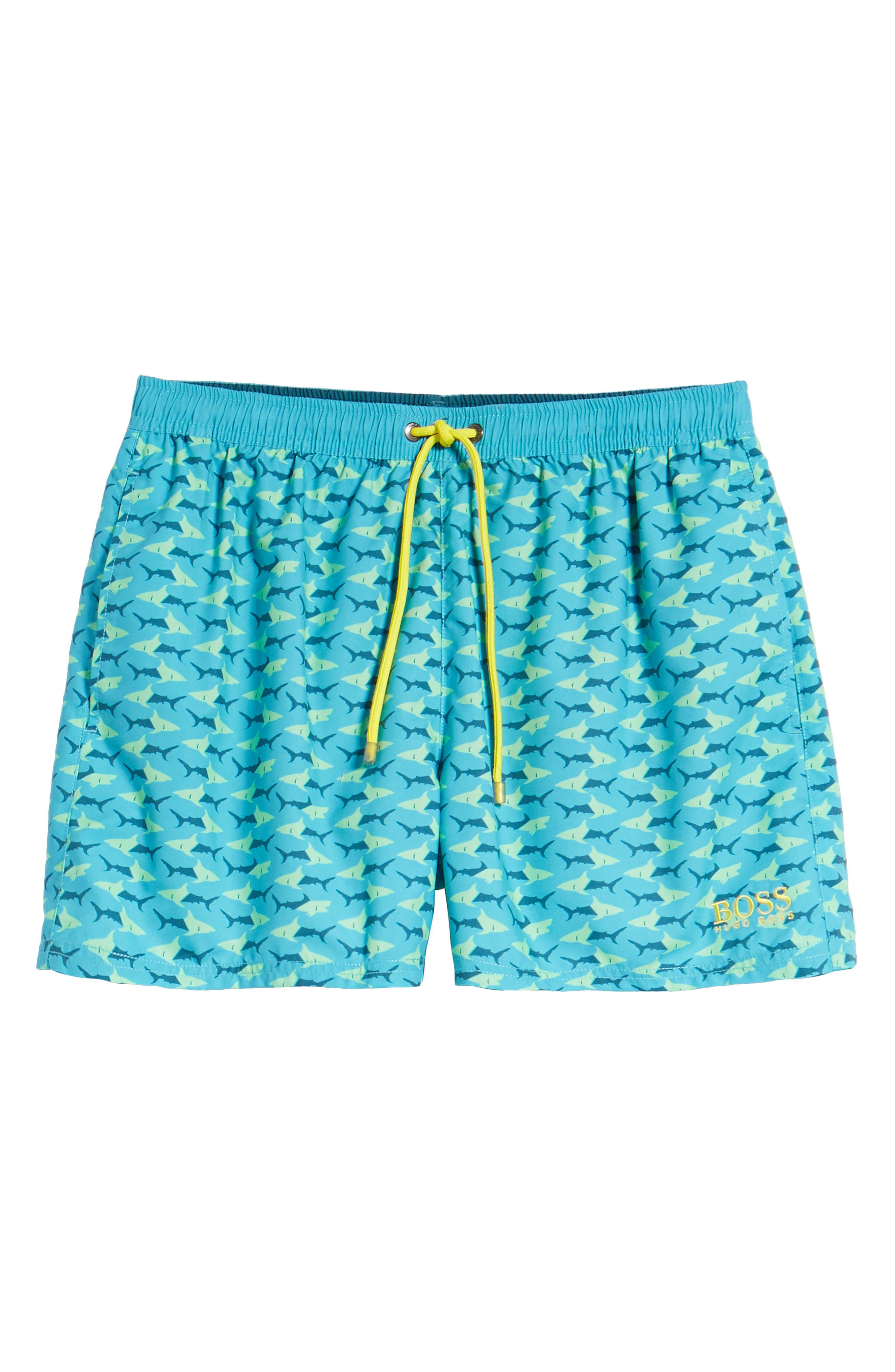 Piranha Shark Swim Trunks,                             Alternate thumbnail 6, color,                             Blue