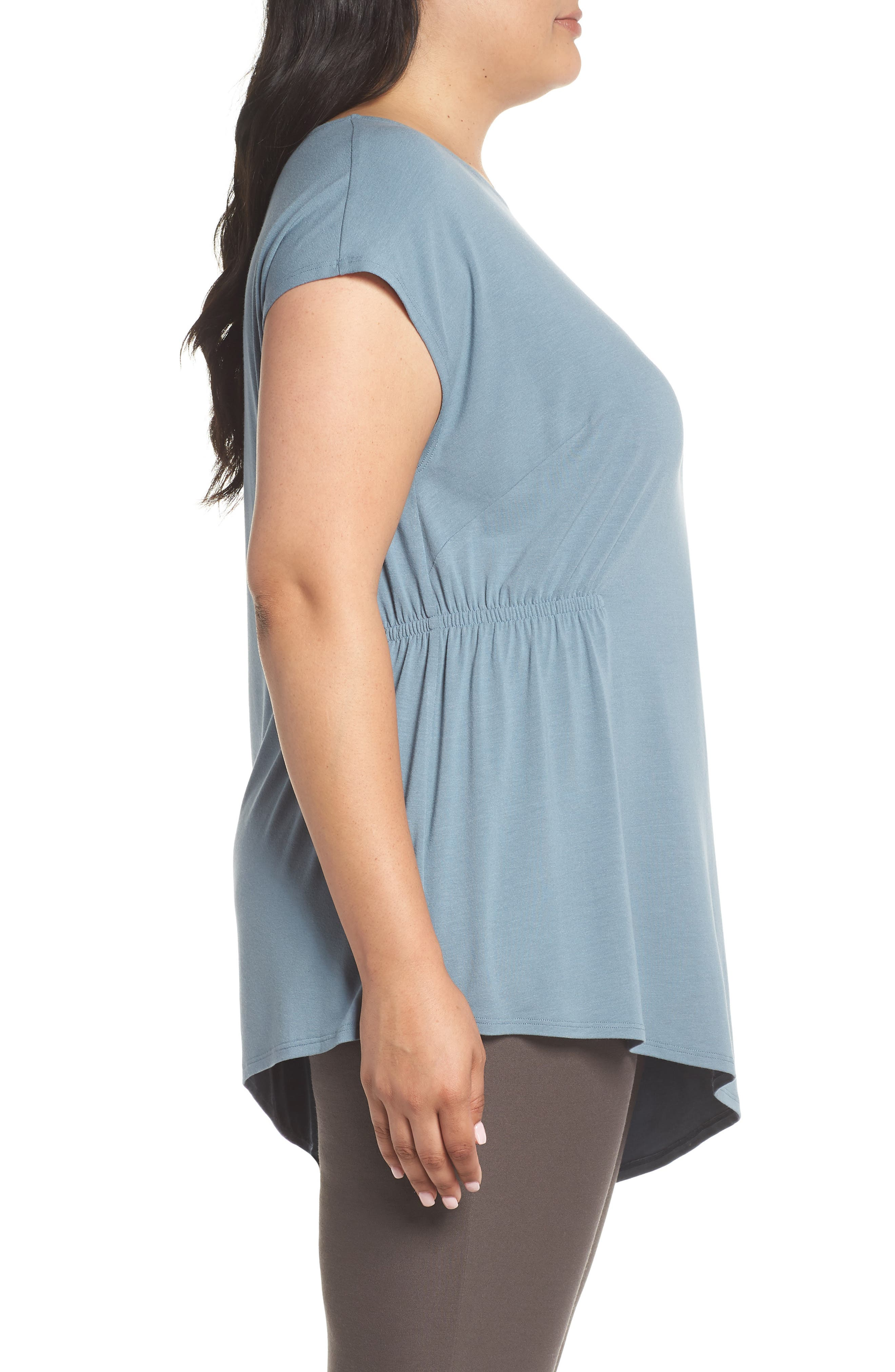 Asymmetrical Jersey Top,                             Alternate thumbnail 3, color,                             Blue Steel