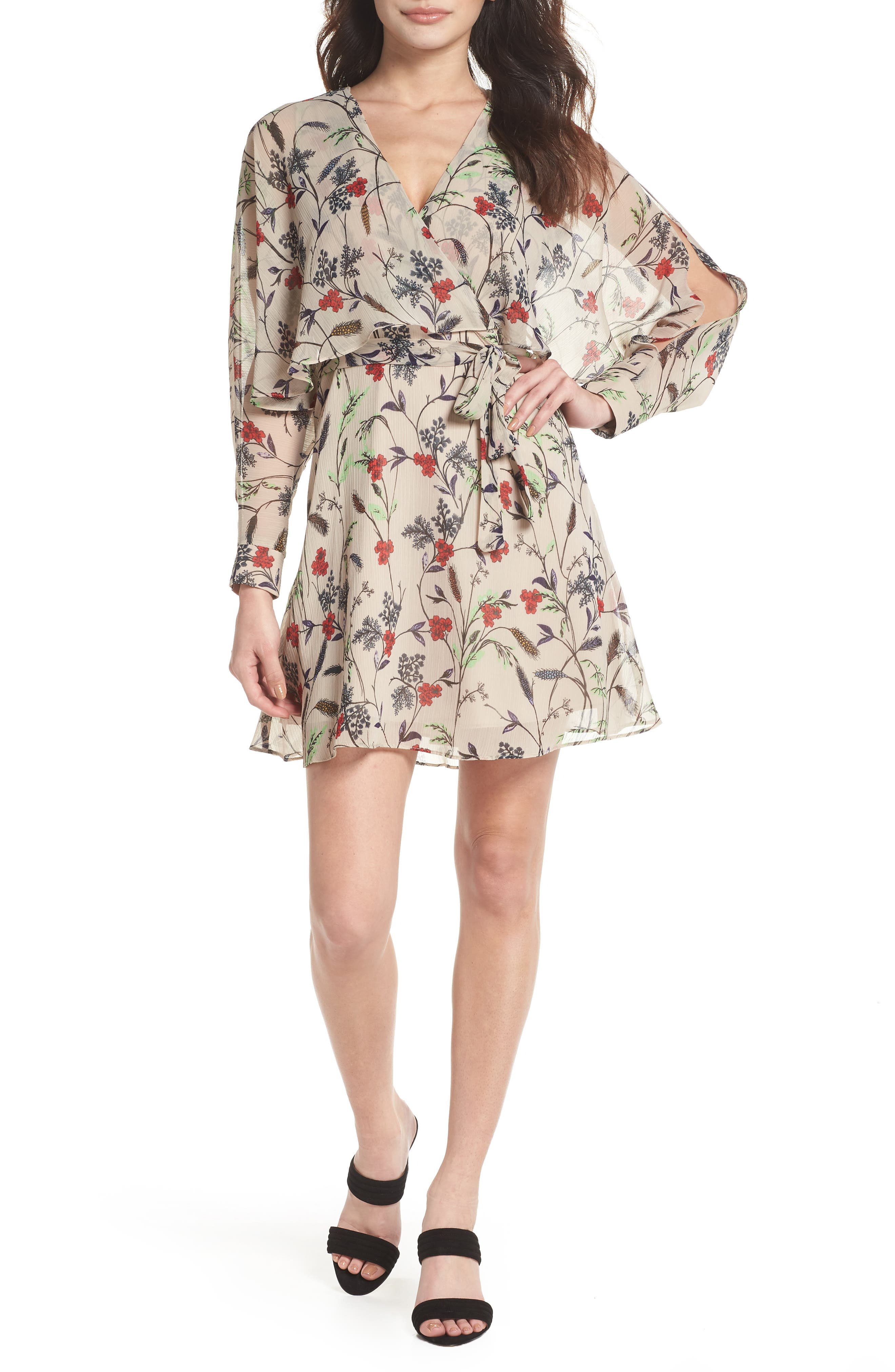 Yoryu Floral Chiffon Dress,                         Main,                         color, Beige/ Red