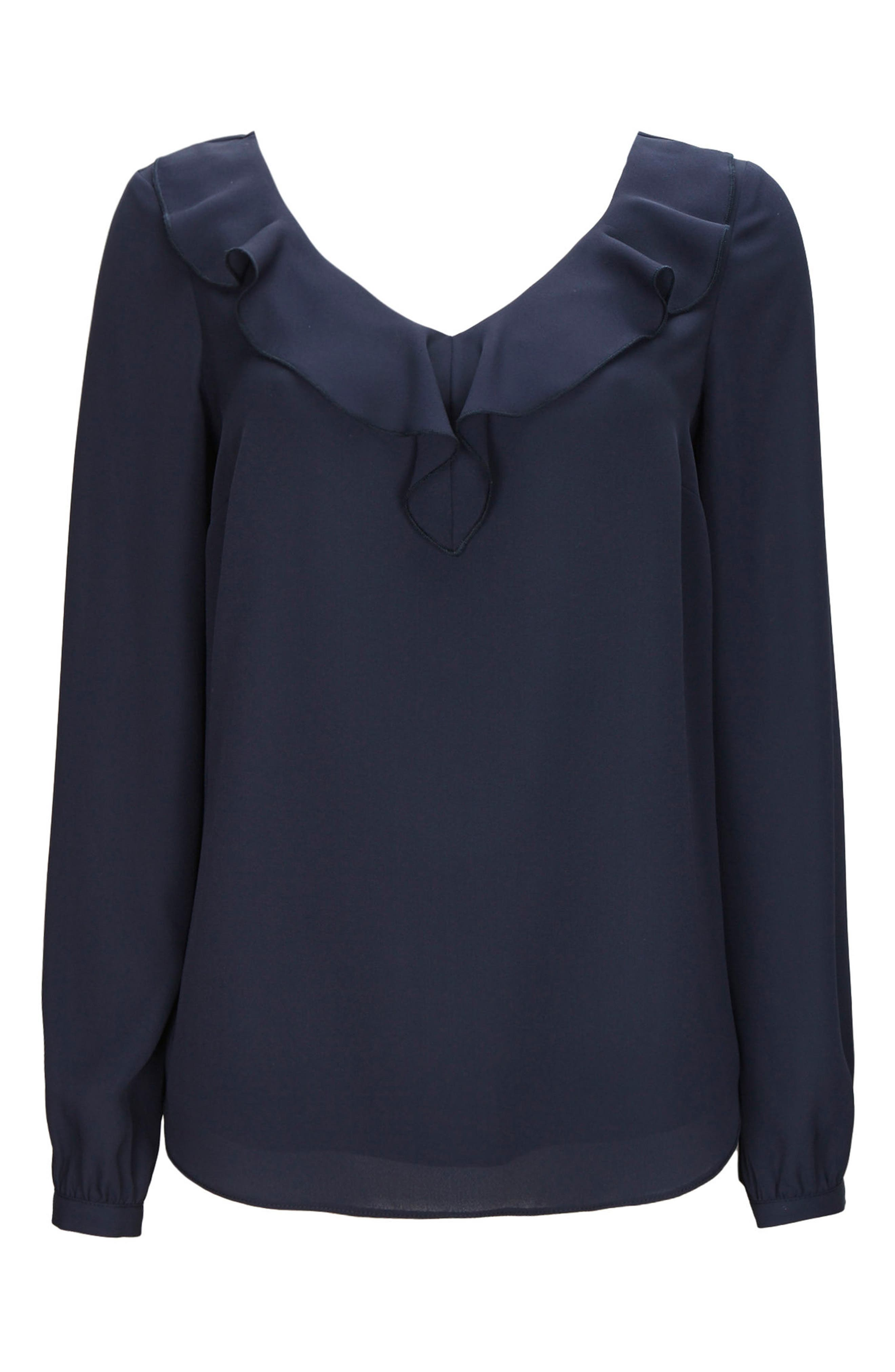 Ruffle Neck Blouse,                         Main,                         color, Ink