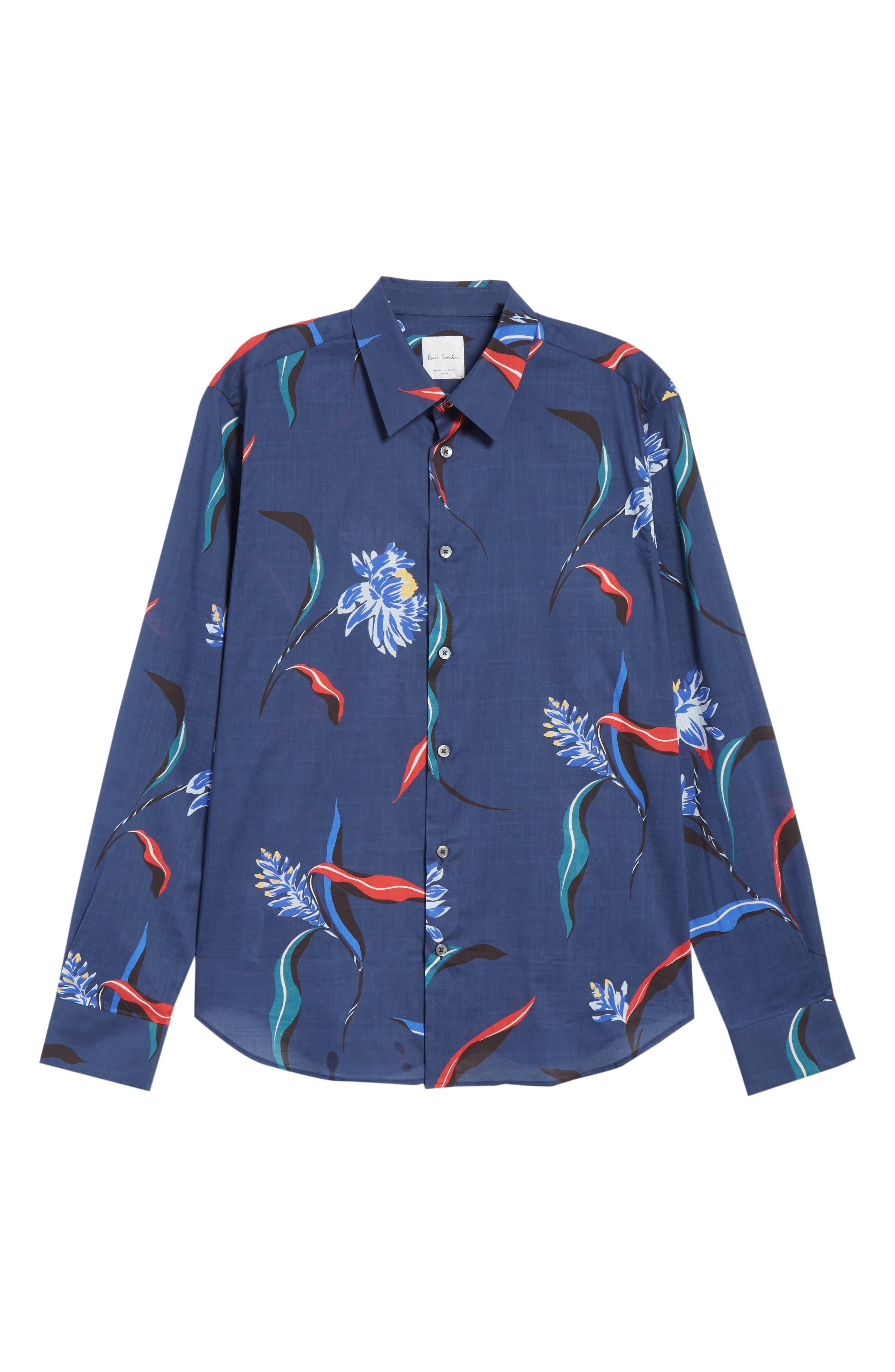 Floral Woven Shirt,                             Alternate thumbnail 6, color,                             03 Light Blue