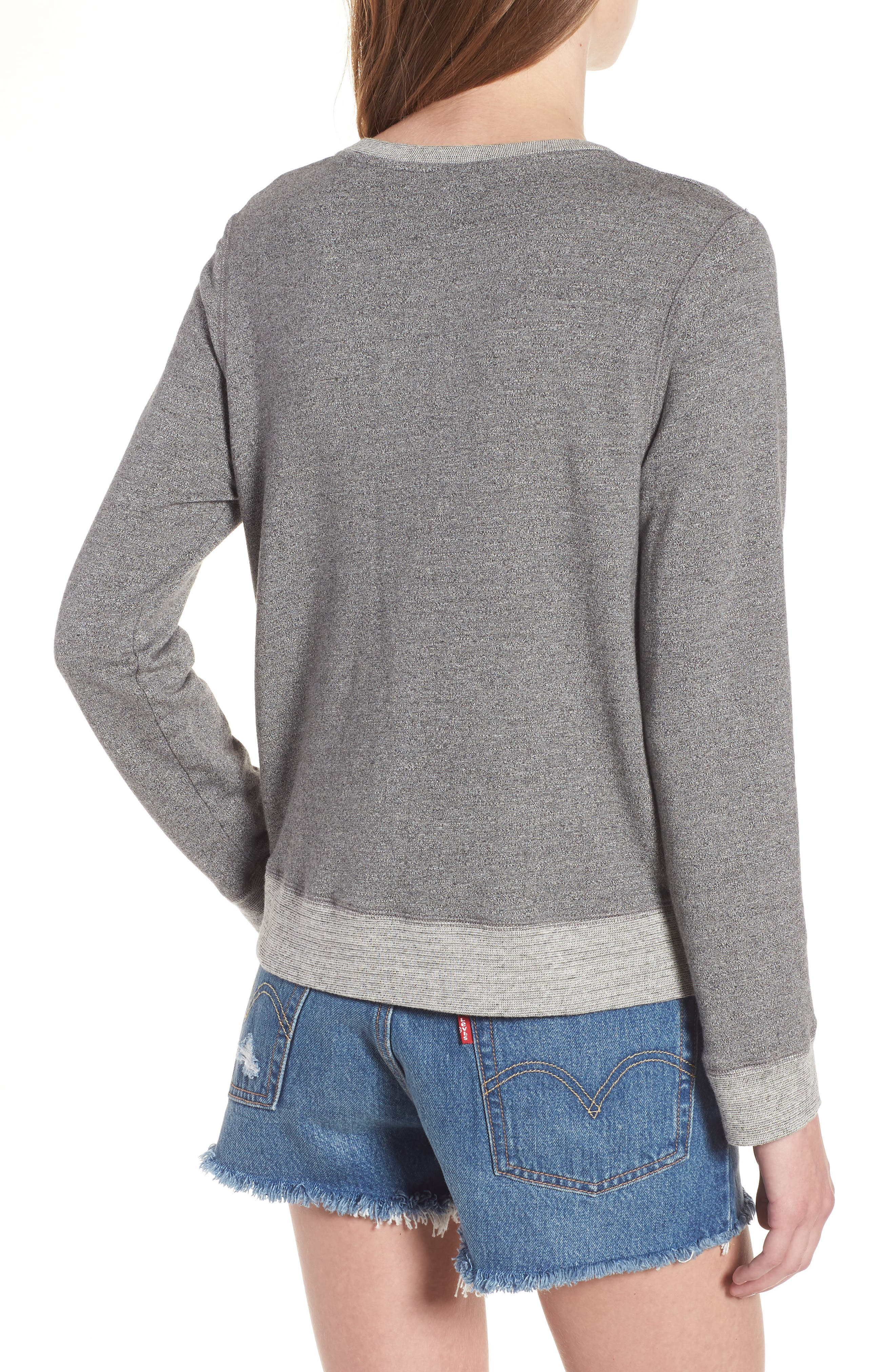 Hello Embroidered Double Zip Pullover,                             Alternate thumbnail 2, color,                             Heather Grey