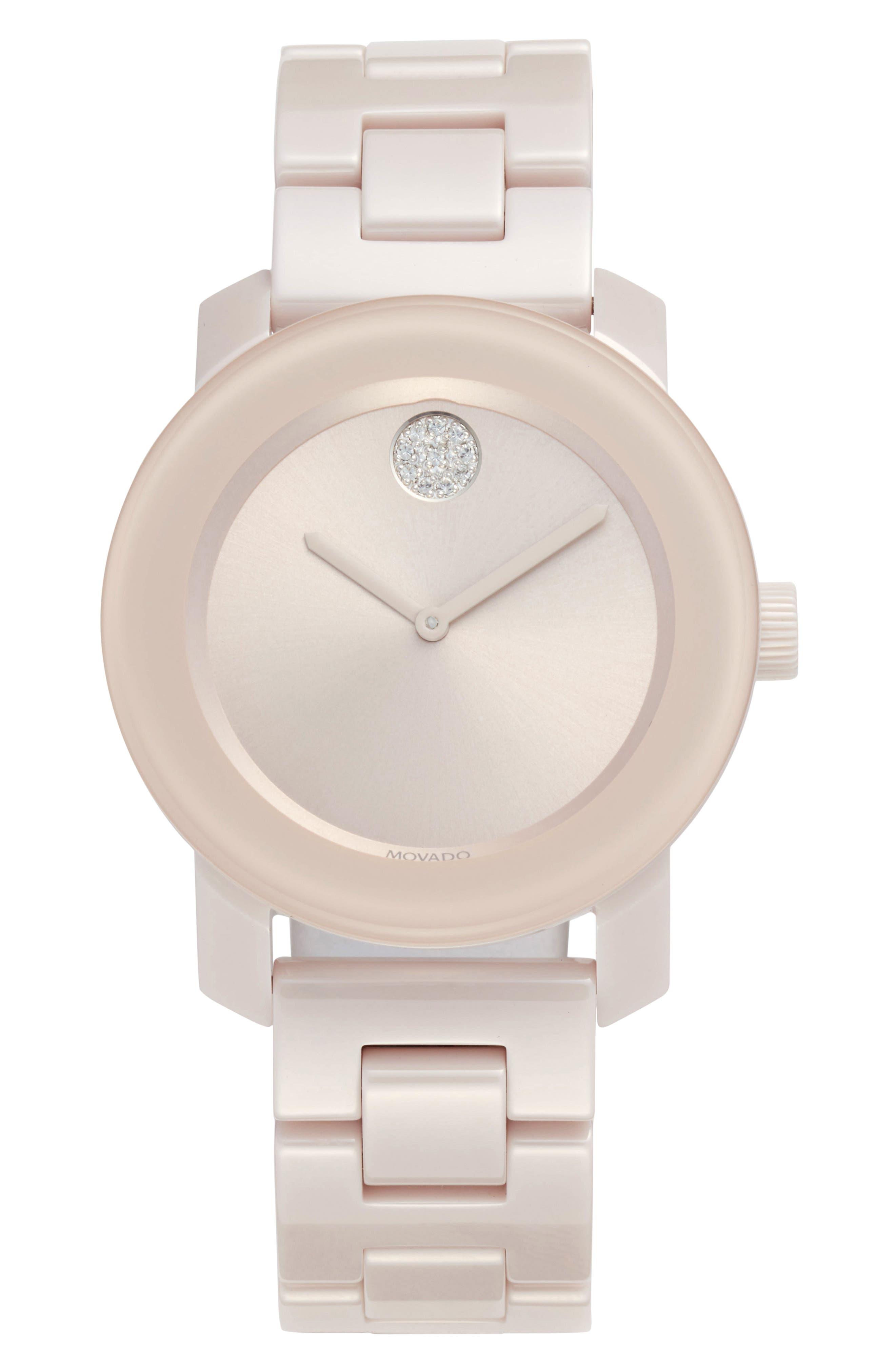 Bold Ceramic Bracelet Watch, 36mm,                         Main,                         color, Blush Pink
