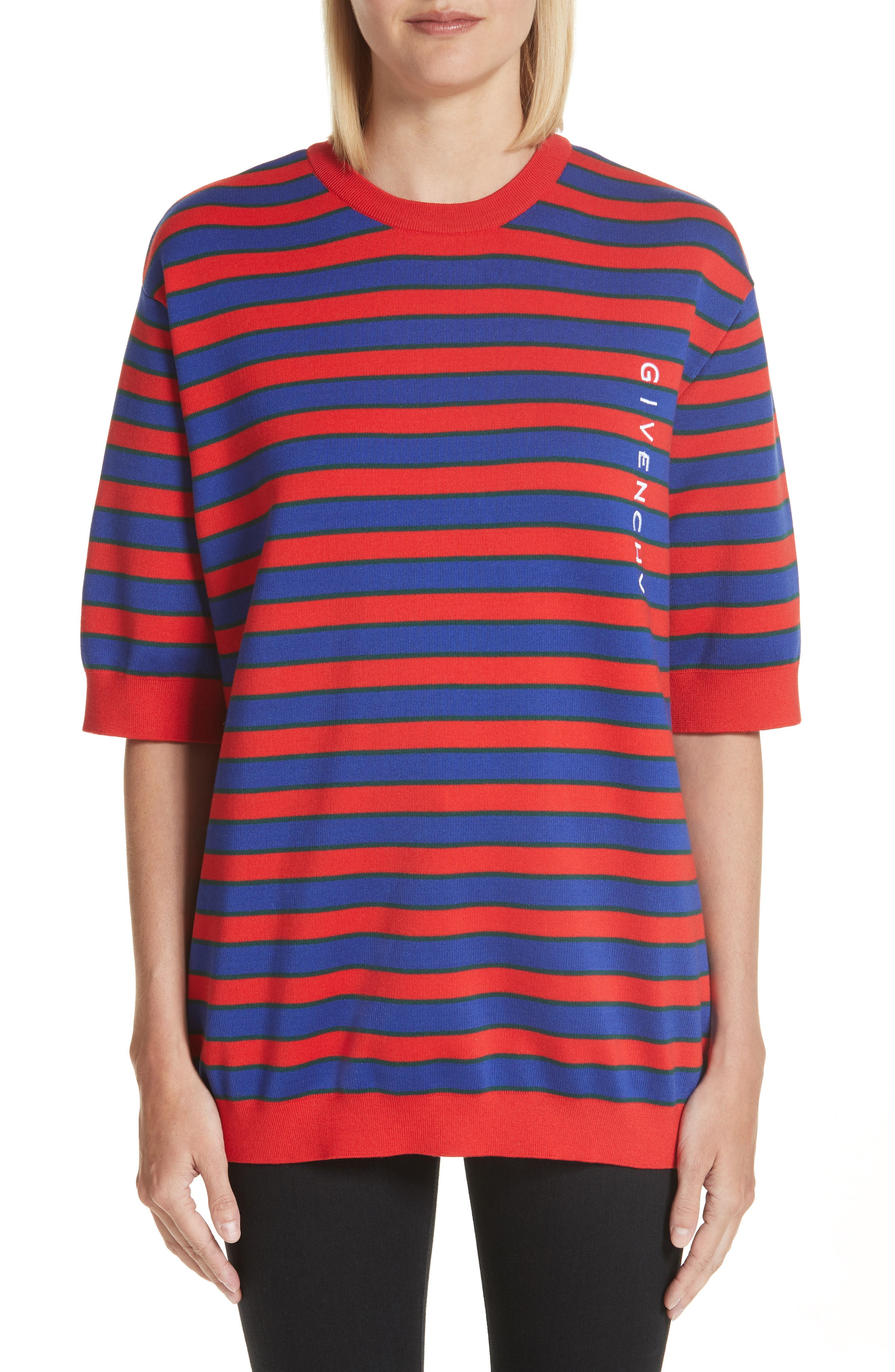 Short Sleeve Stripe Sweater,                         Main,                         color, Red/ Blue