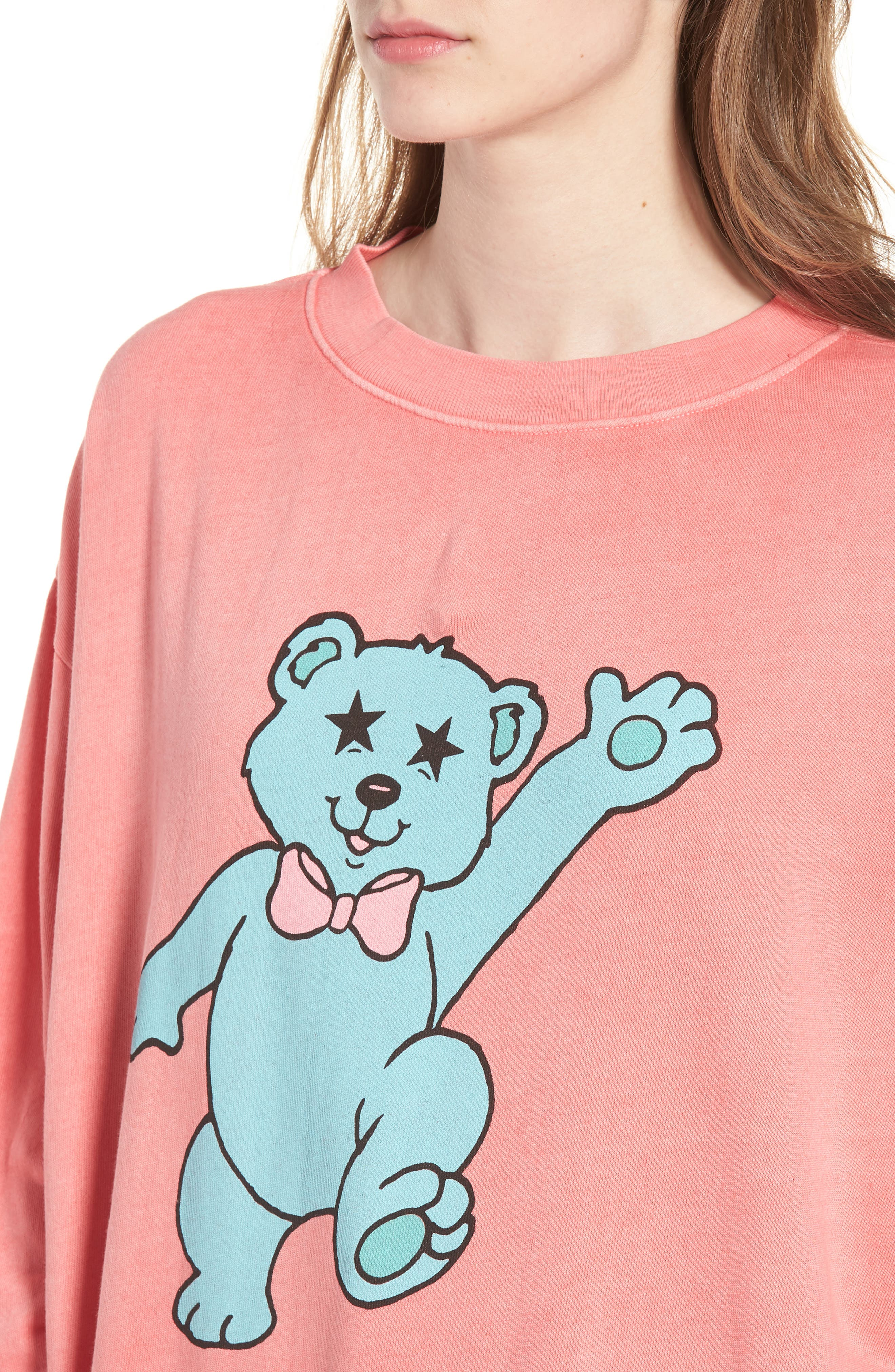 Groovy Teddy Road Trip Pullover Sweatshirt,                             Alternate thumbnail 4, color,                             Pigment Red Flare