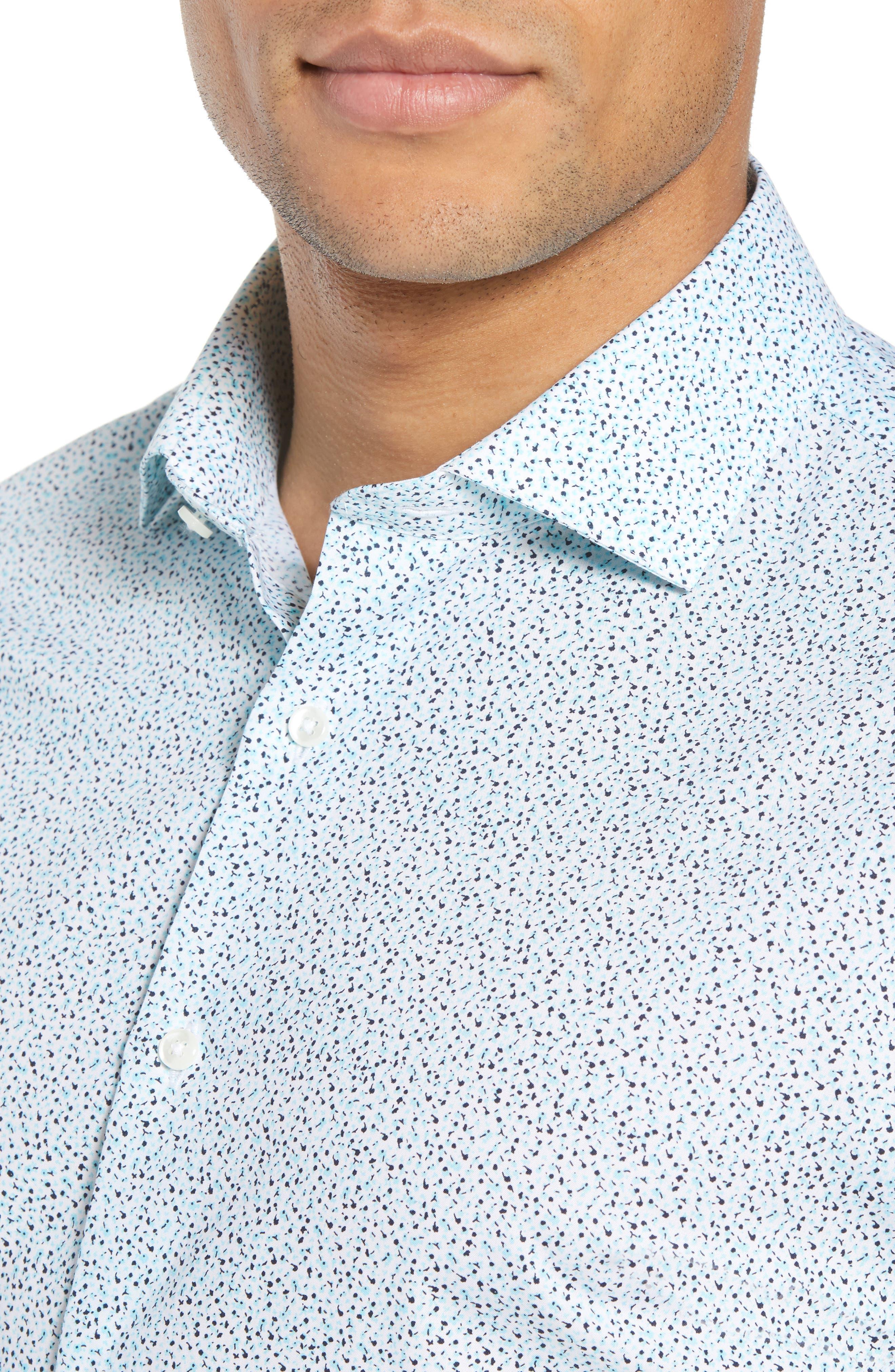 Trim Fit Floral Dress Shirt,                             Alternate thumbnail 2, color,                             Teal Bermuda