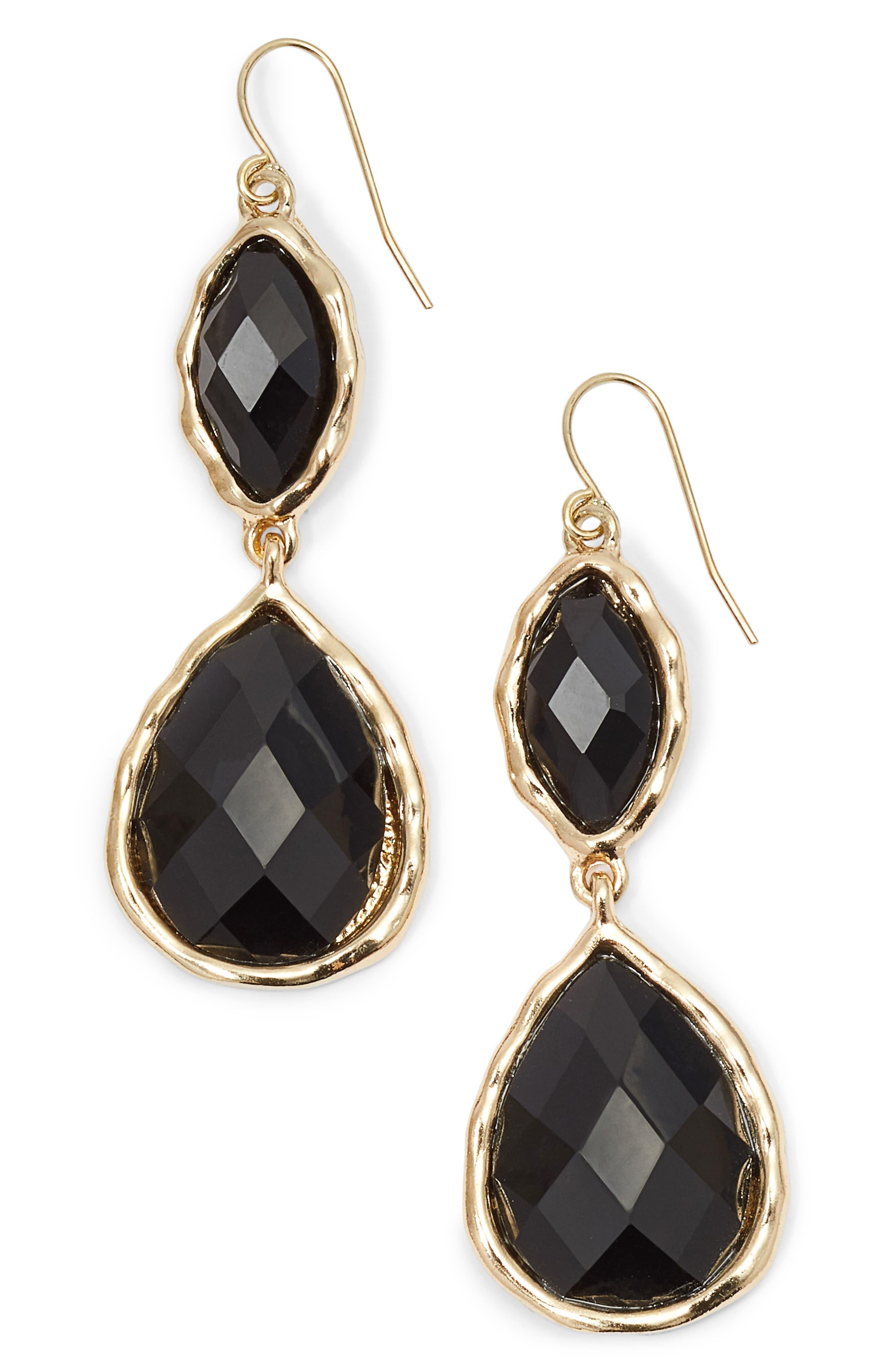 Stone Drop Earrings,                         Main,                         color, Black