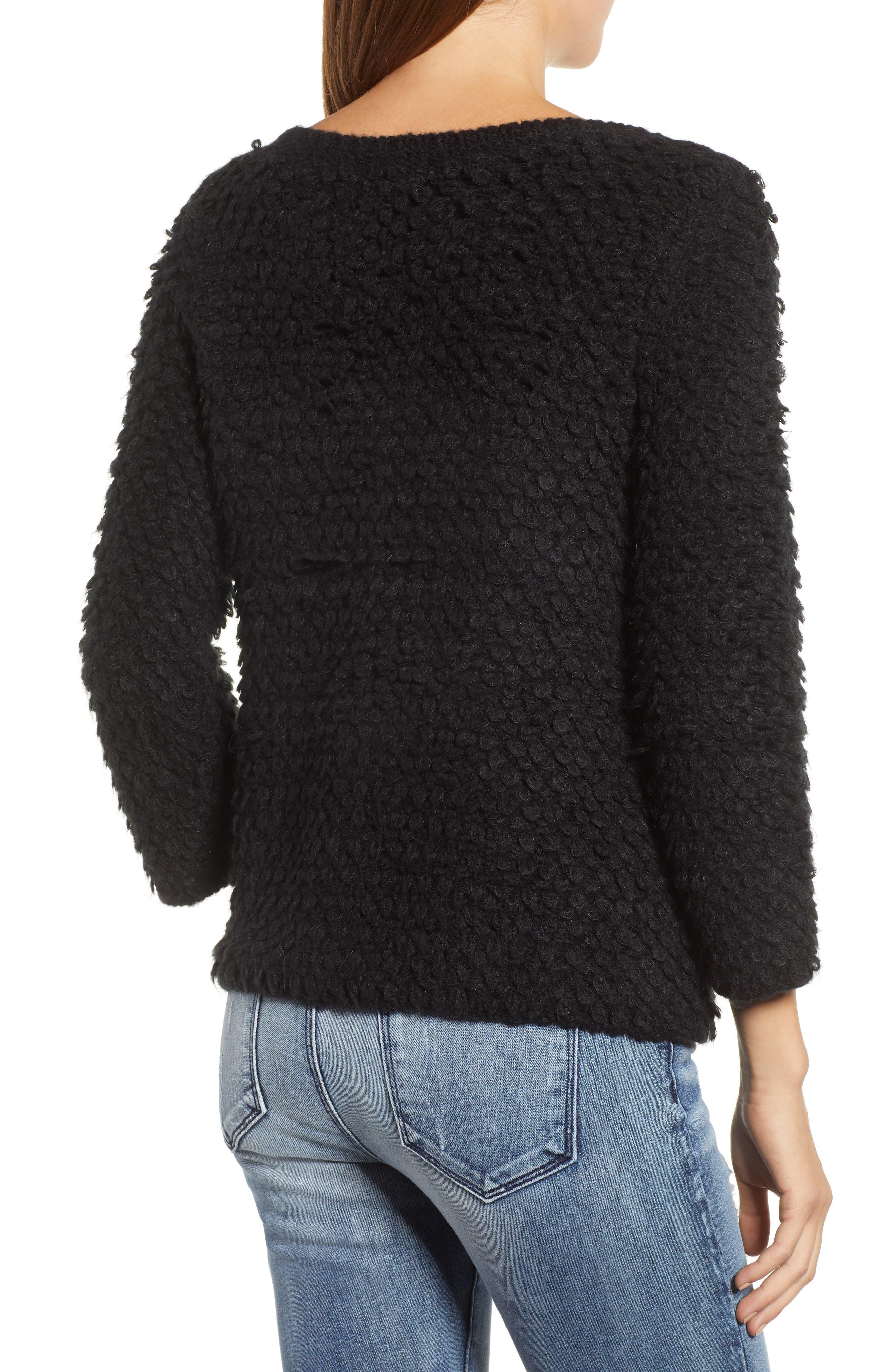Loop Stitch Crewneck Sweater,                             Alternate thumbnail 2, color,                             Black