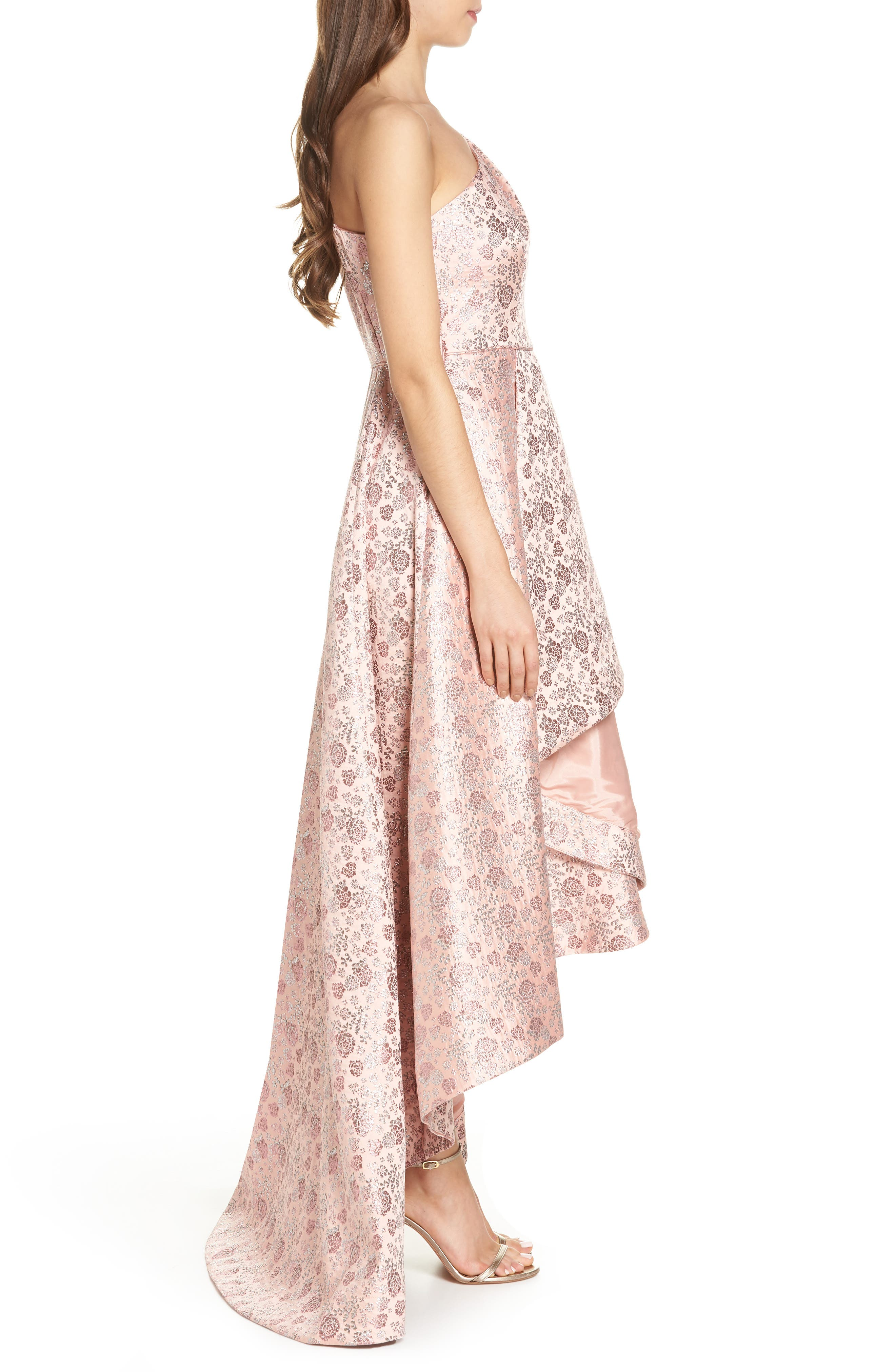 One-Shoulder High/Low Jacquard Gown,                             Alternate thumbnail 3, color,                             Pink Multi