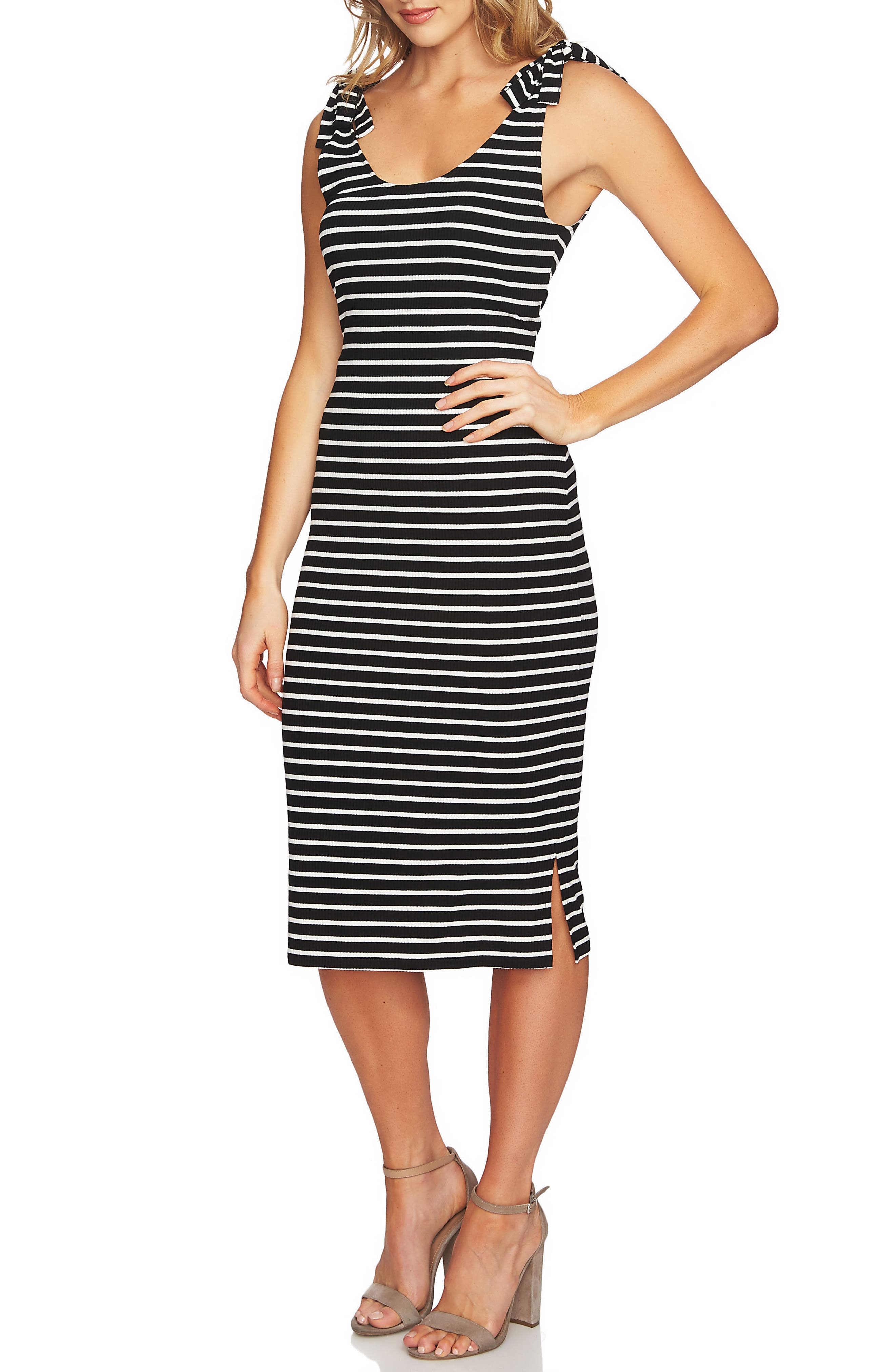 Stripe Knit Tank Dress,                         Main,                         color, Rich Black