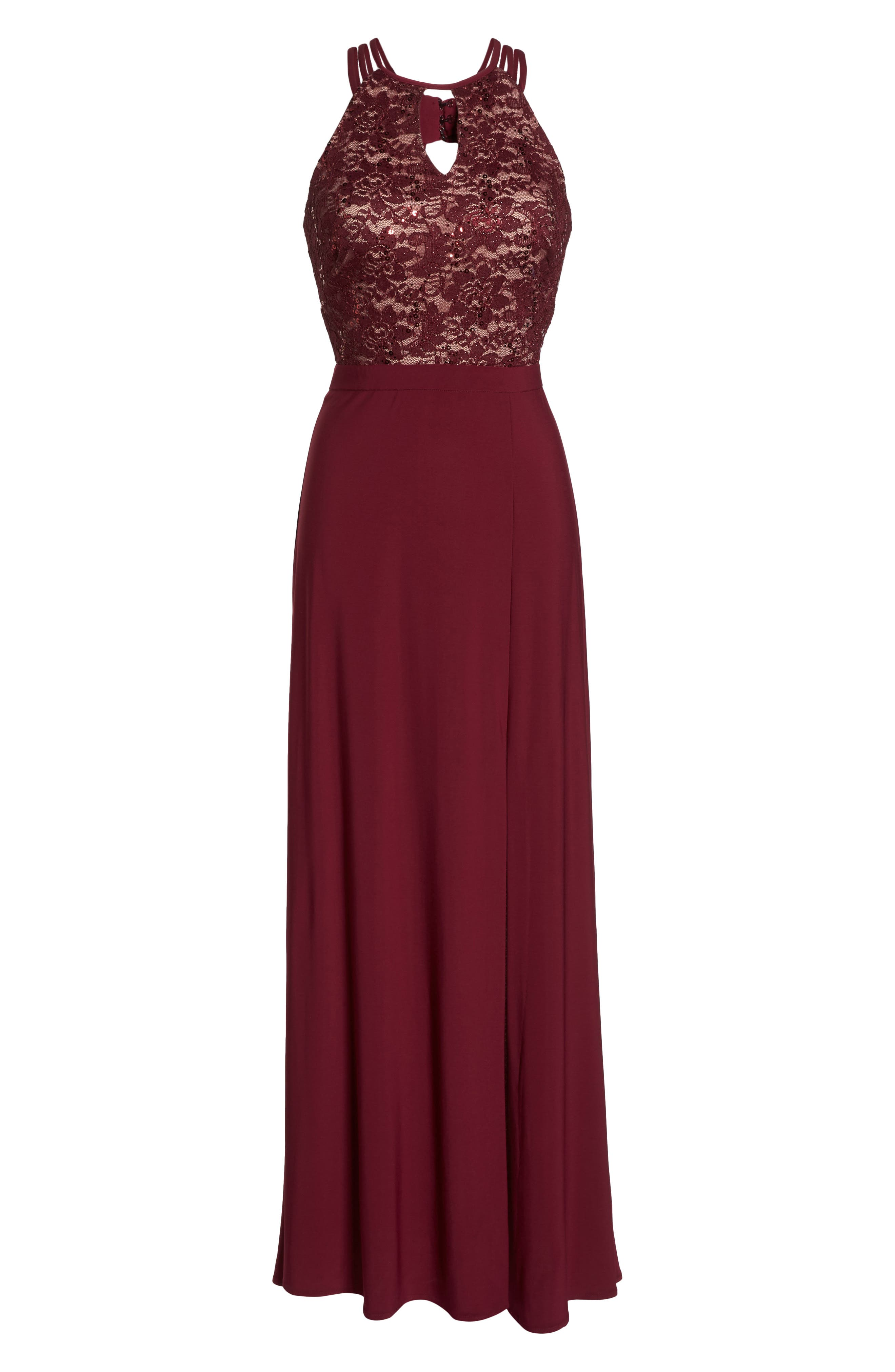 Embellished Lace Gown,                             Alternate thumbnail 6, color,                             Merlot/ Nude