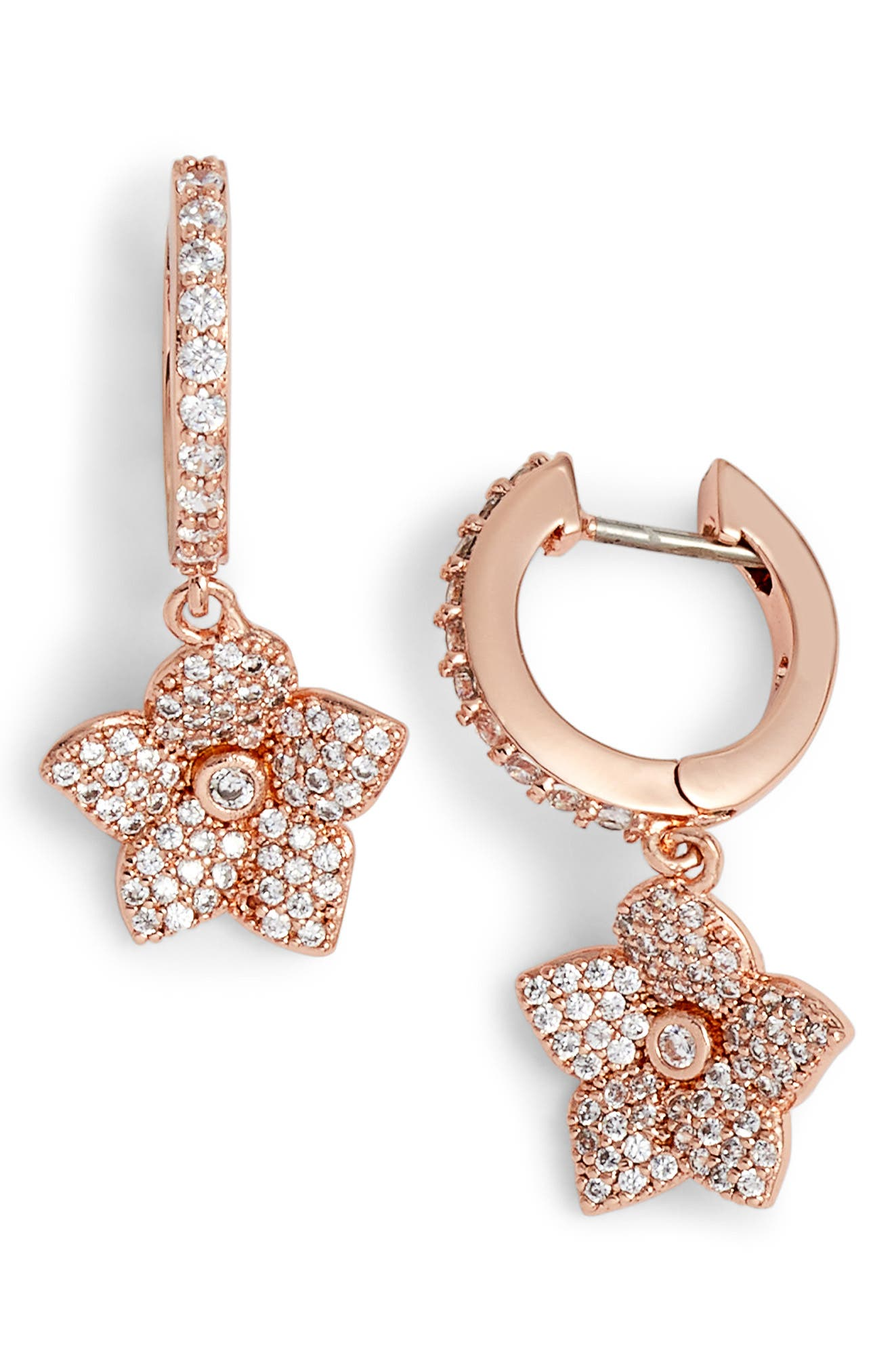 blooming pavé drop earrings,                         Main,                         color, Clear/ Rose Gold