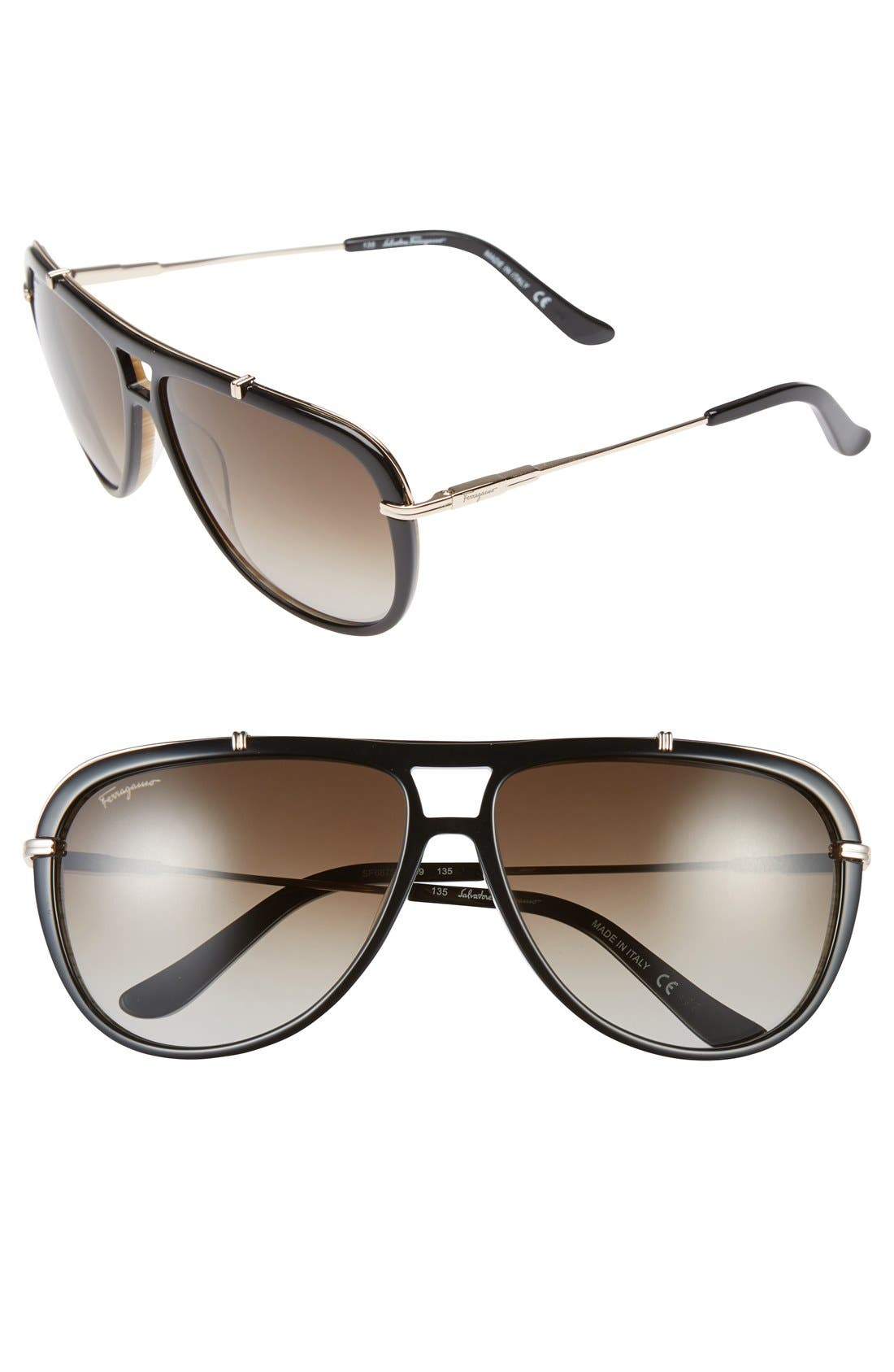Alternate Image 1 Selected - Salvatore Ferragamo 60mm Sunglasses