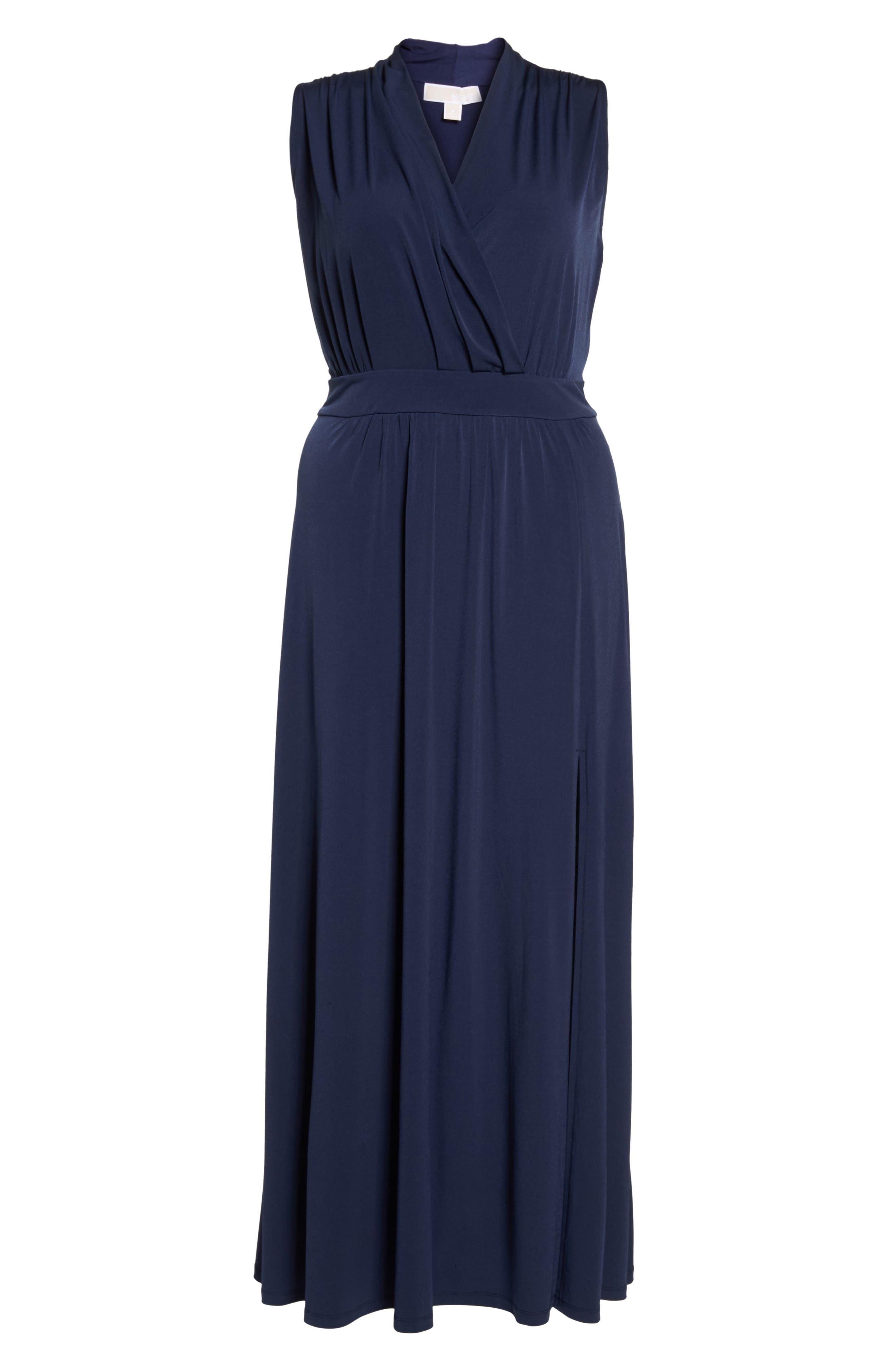 Slit Faux Wrap Maxi Dress,                             Alternate thumbnail 7, color,                             True Navy