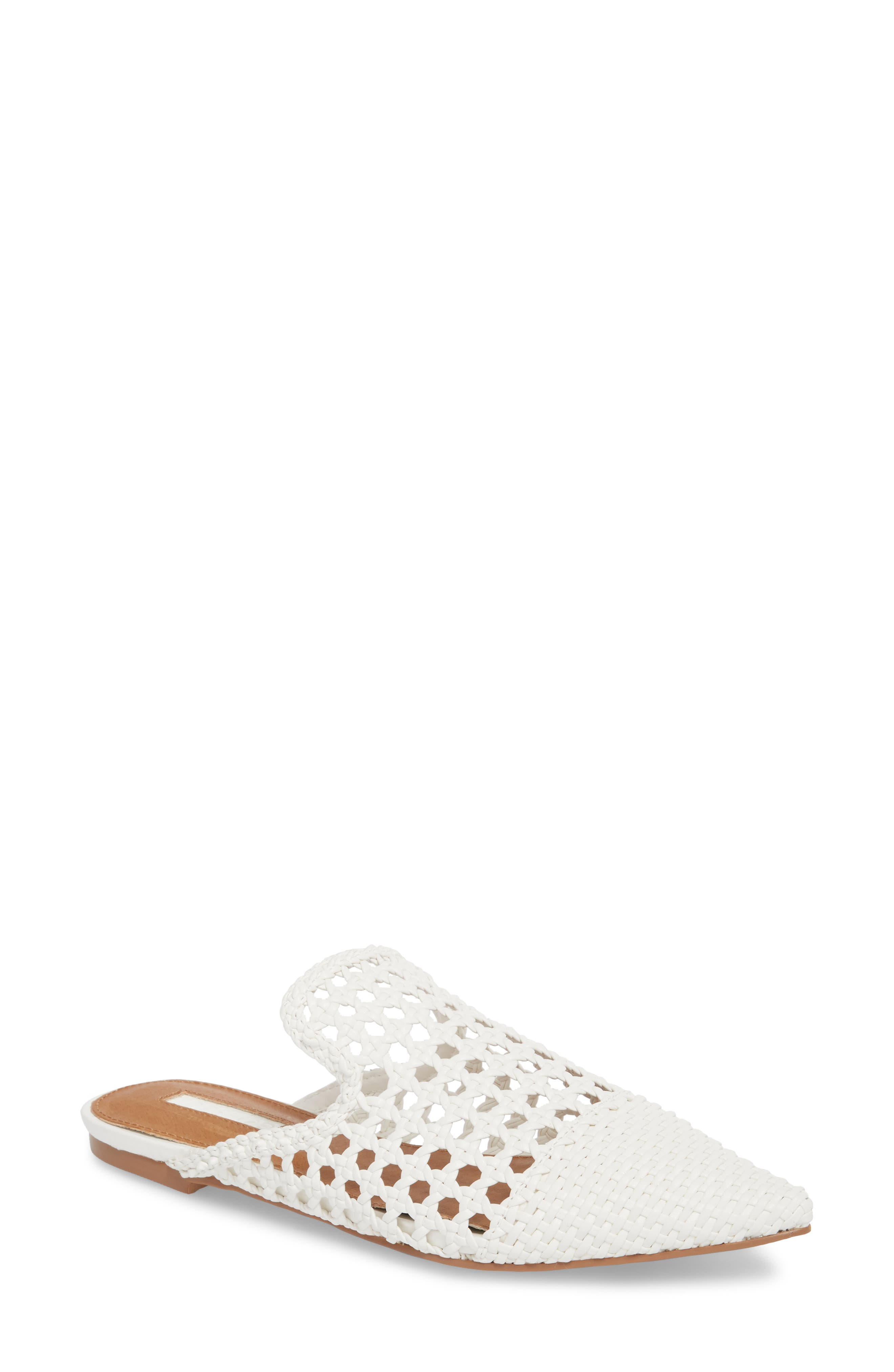 Knot Woven Mule,                         Main,                         color, White