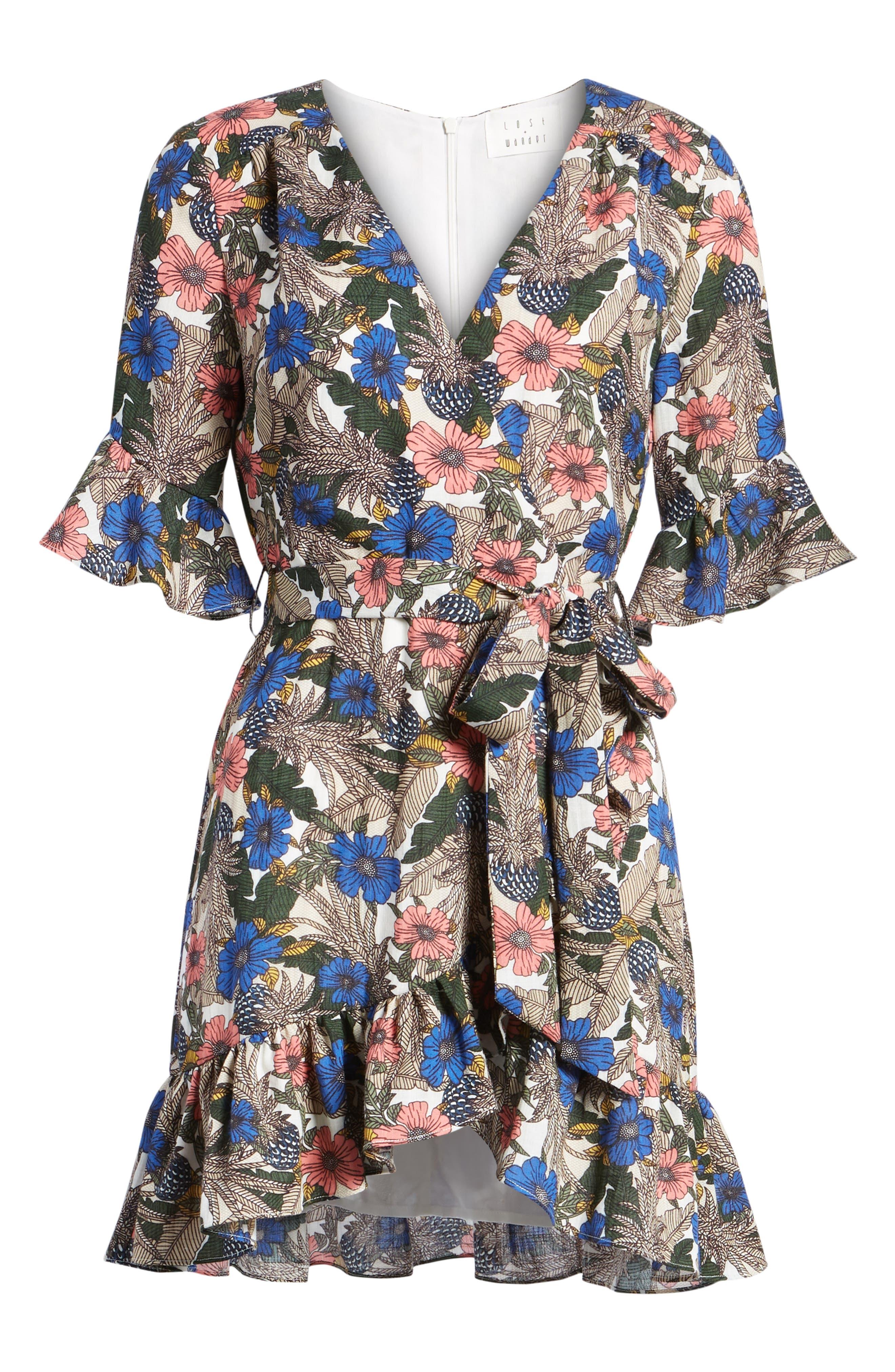 Siesta Wrap Minidress,                             Alternate thumbnail 7, color,                             Blue Multi