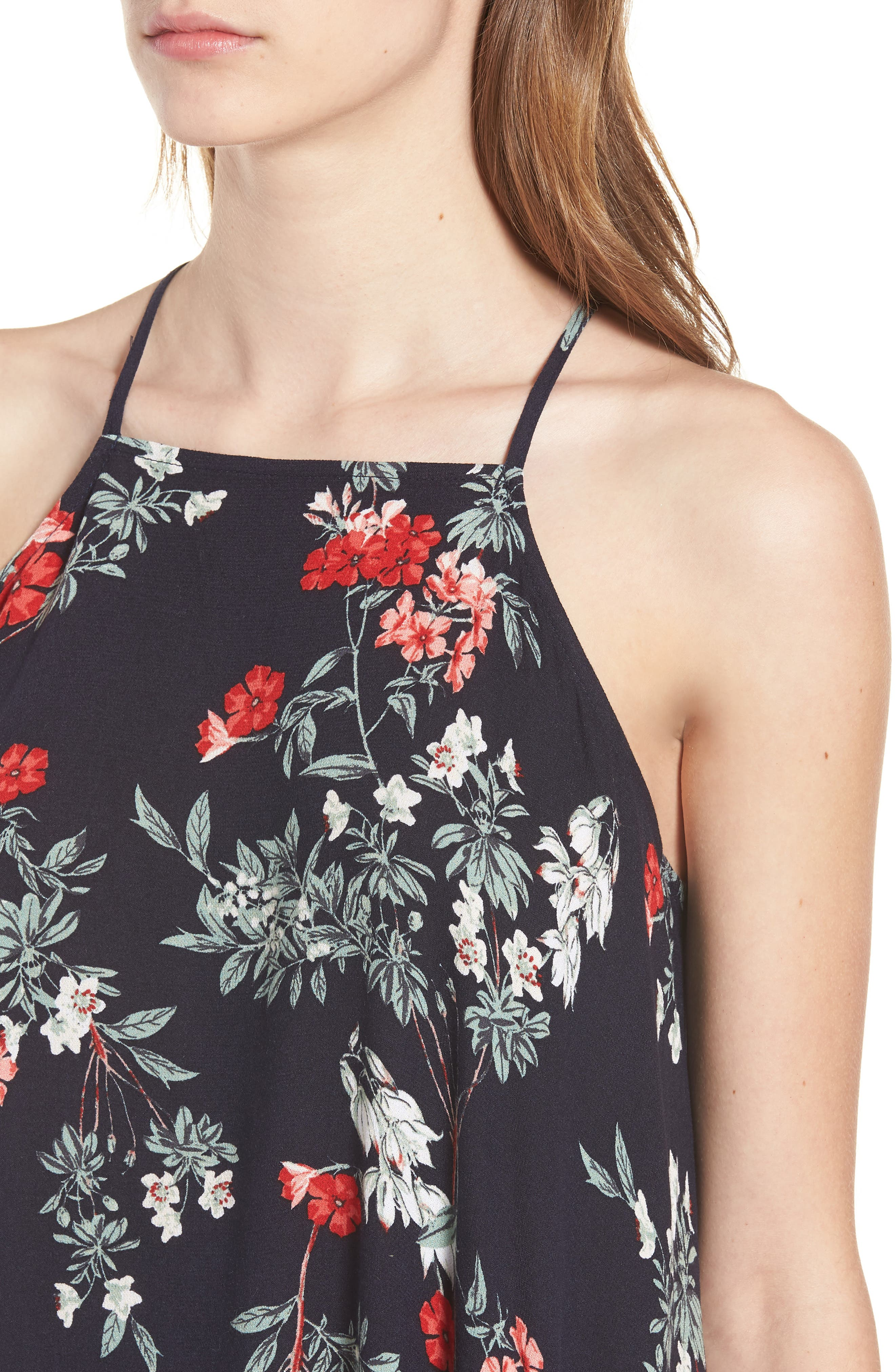 Floral Ruffle High/Low Tank,                             Alternate thumbnail 4, color,                             Navy Night Fresh Blooms