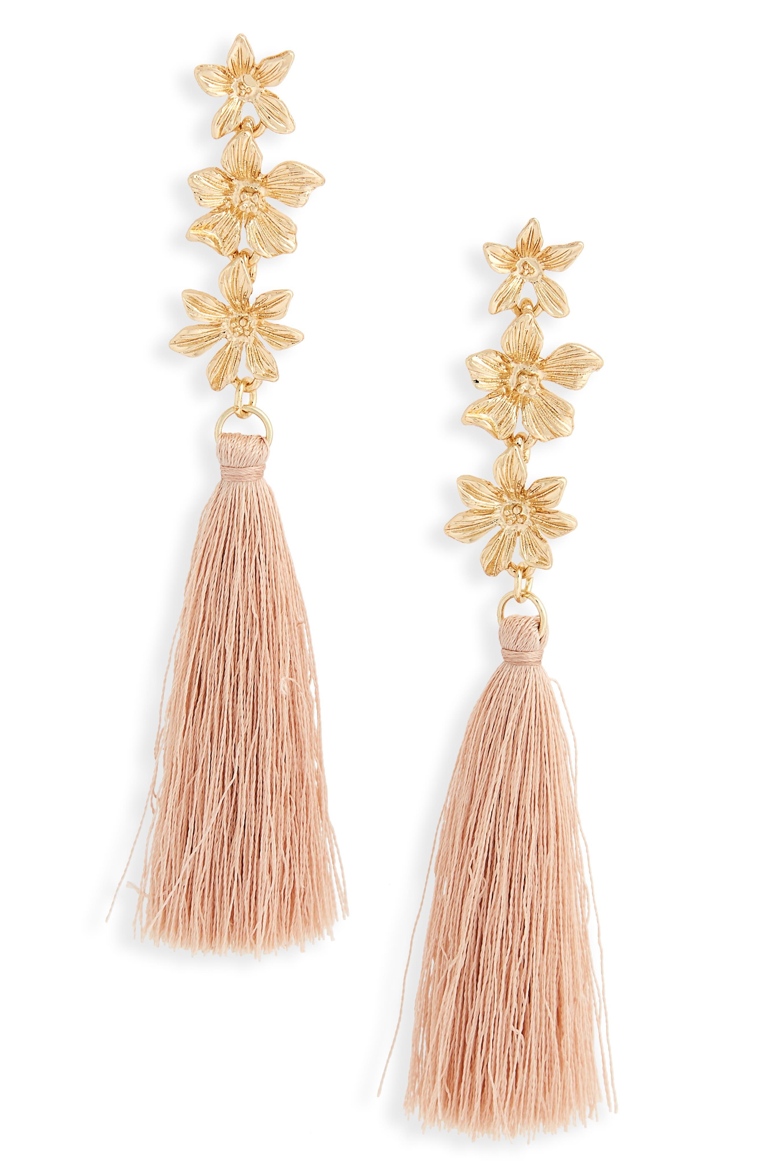 3-Flower Tassel Drop Earrings,                         Main,                         color, Natural