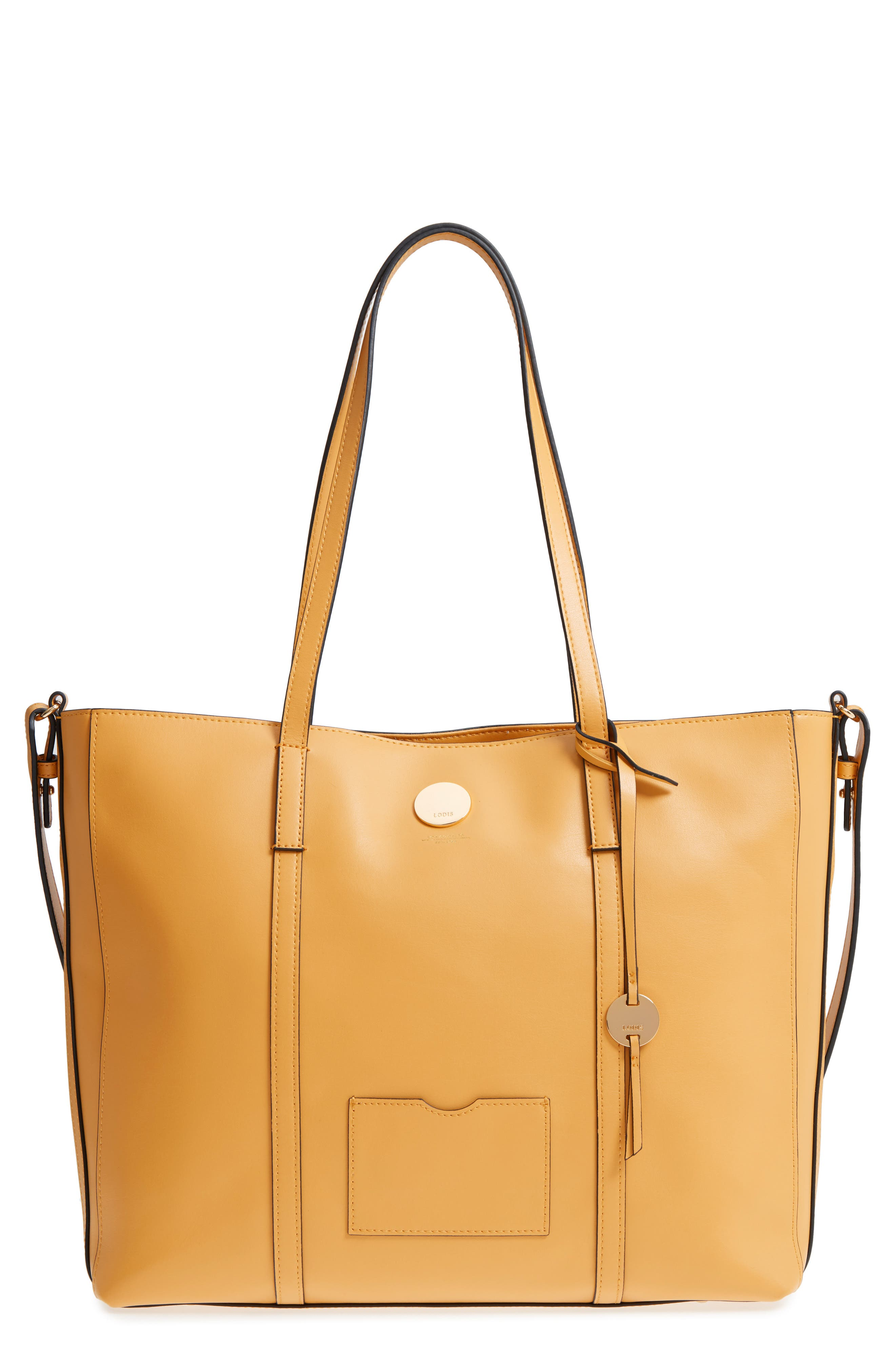 Nelly RFID Medium Leather Tote,                         Main,                         color, Yellow