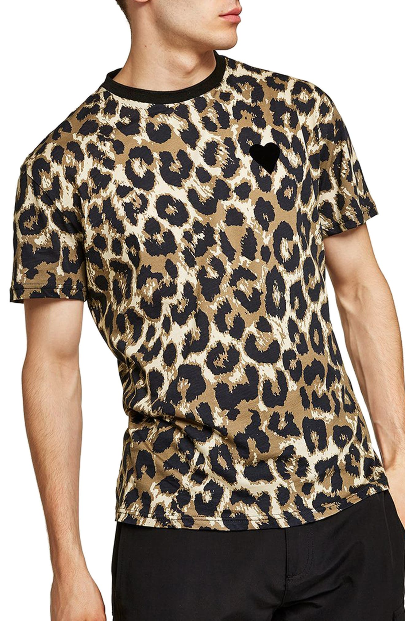 Classic Fit Leopard Print T-Shirt,                             Main thumbnail 1, color,                             Brown Multi
