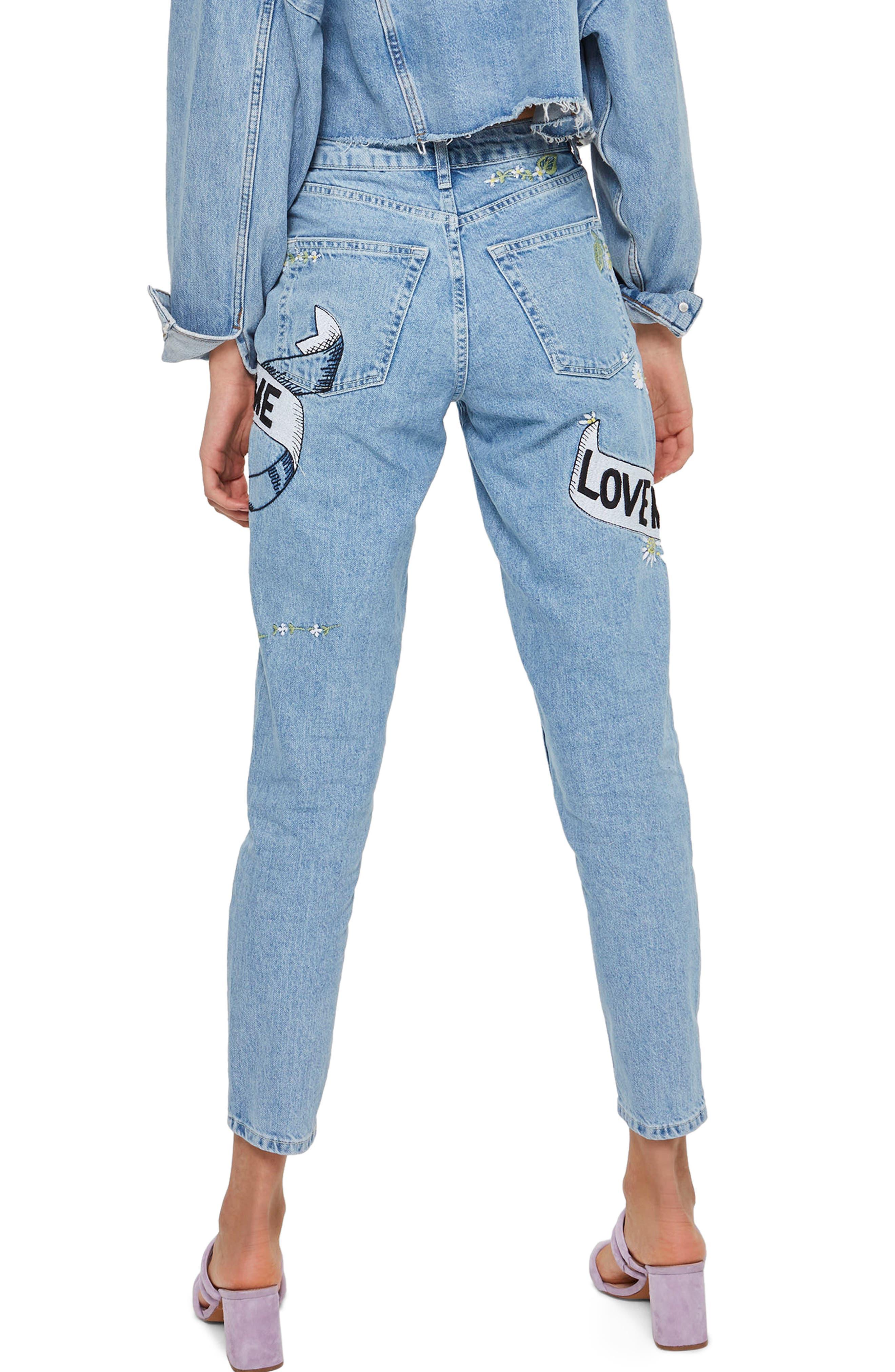 Love Me Bleach Mom Jeans,                             Alternate thumbnail 3, color,                             Light Blue