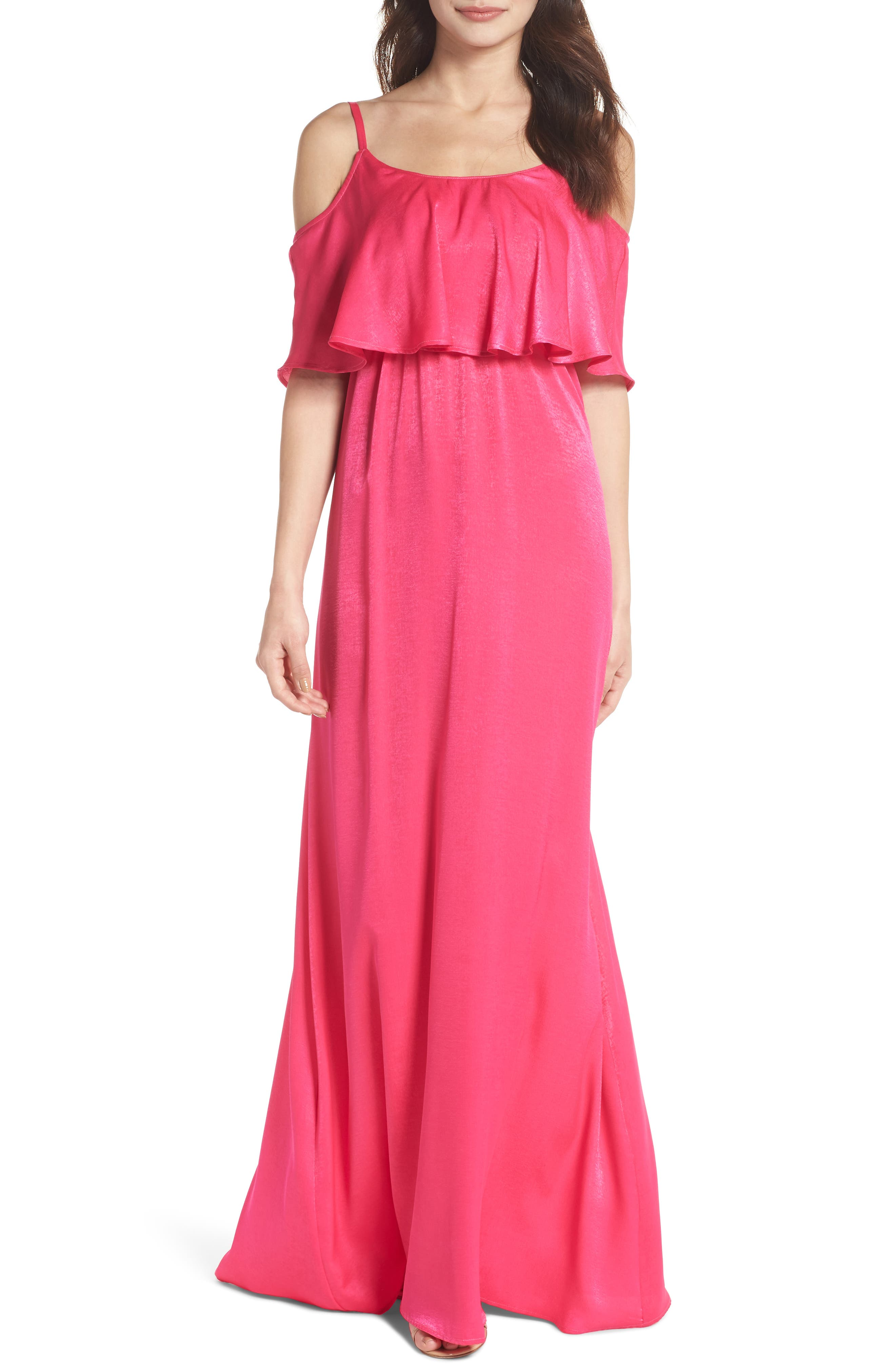 Caitlin Cold Shoulder Chiffon Gown,                         Main,                         color, Flirty Fuchsia Sheen