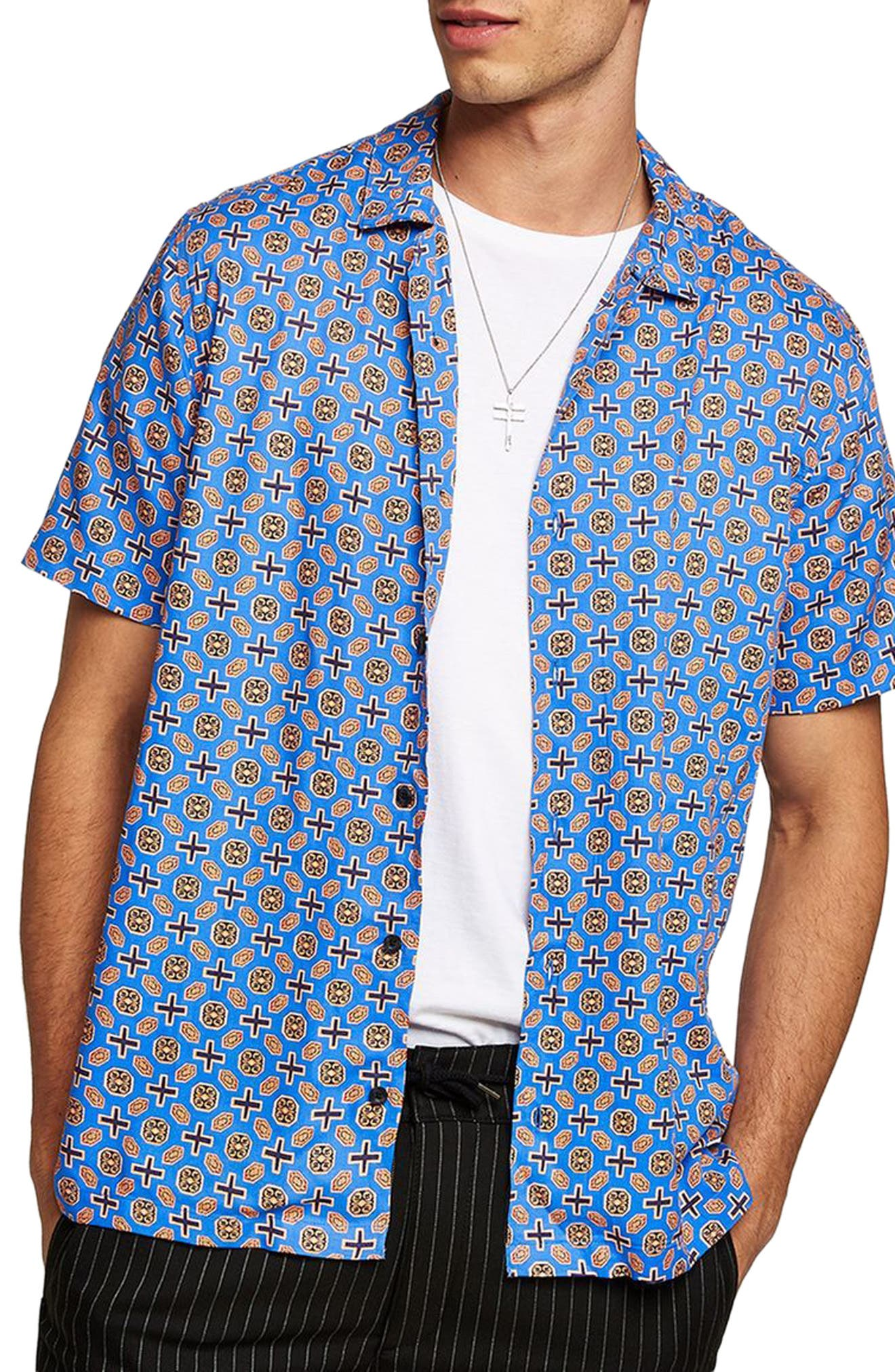 Classic Fit Geo Print Woven Shirt,                             Main thumbnail 1, color,                             Blue Multi