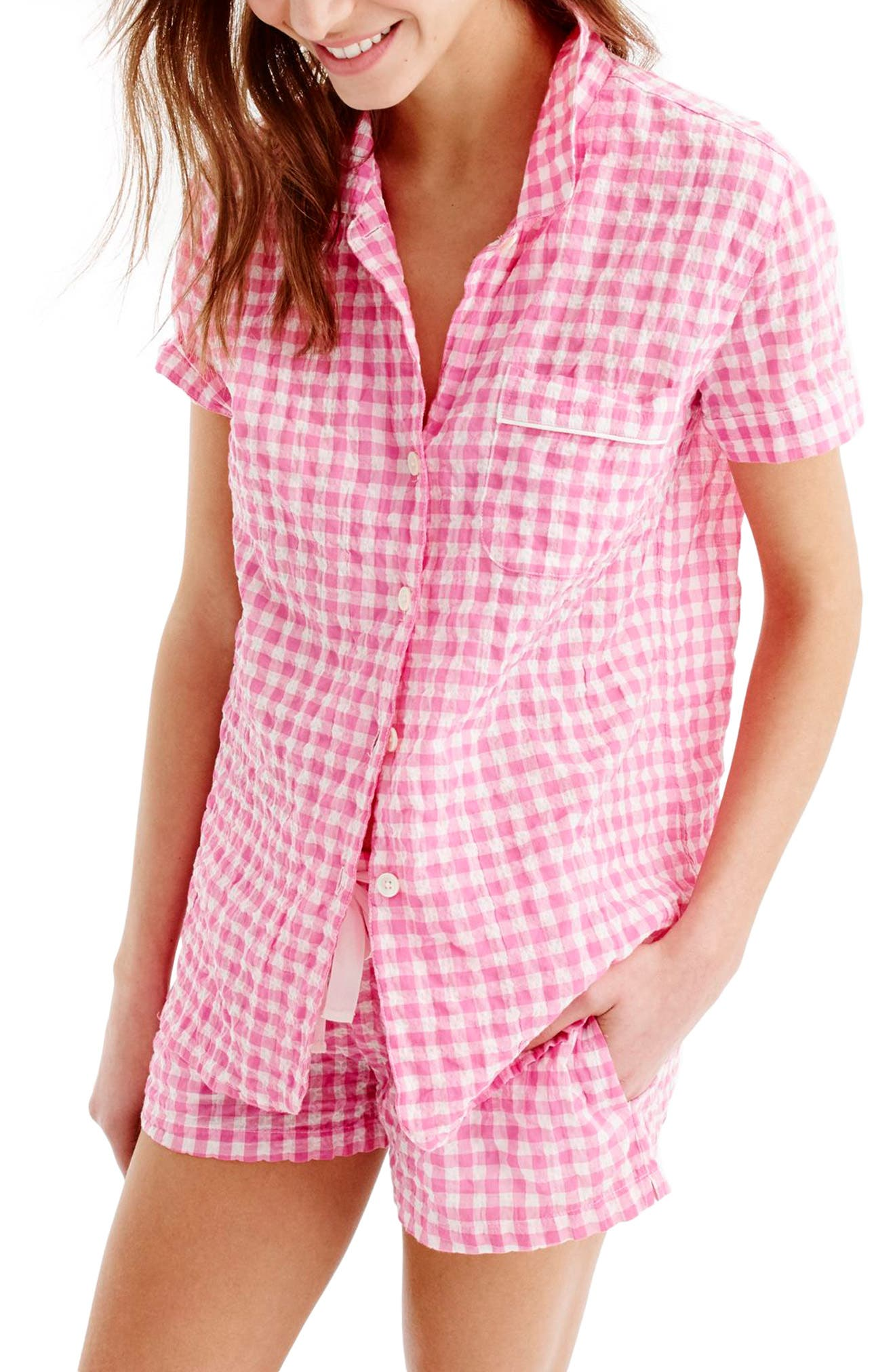 J.Crew Gingham Pajama Set,                         Main,                         color, Ivory Pink
