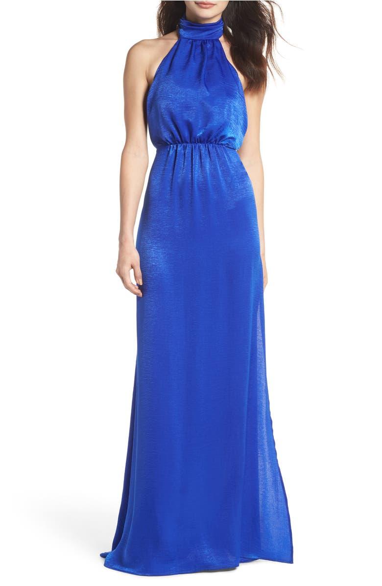 Show Me Your Mumu Collette Halter Gown In Cobalt Sheen