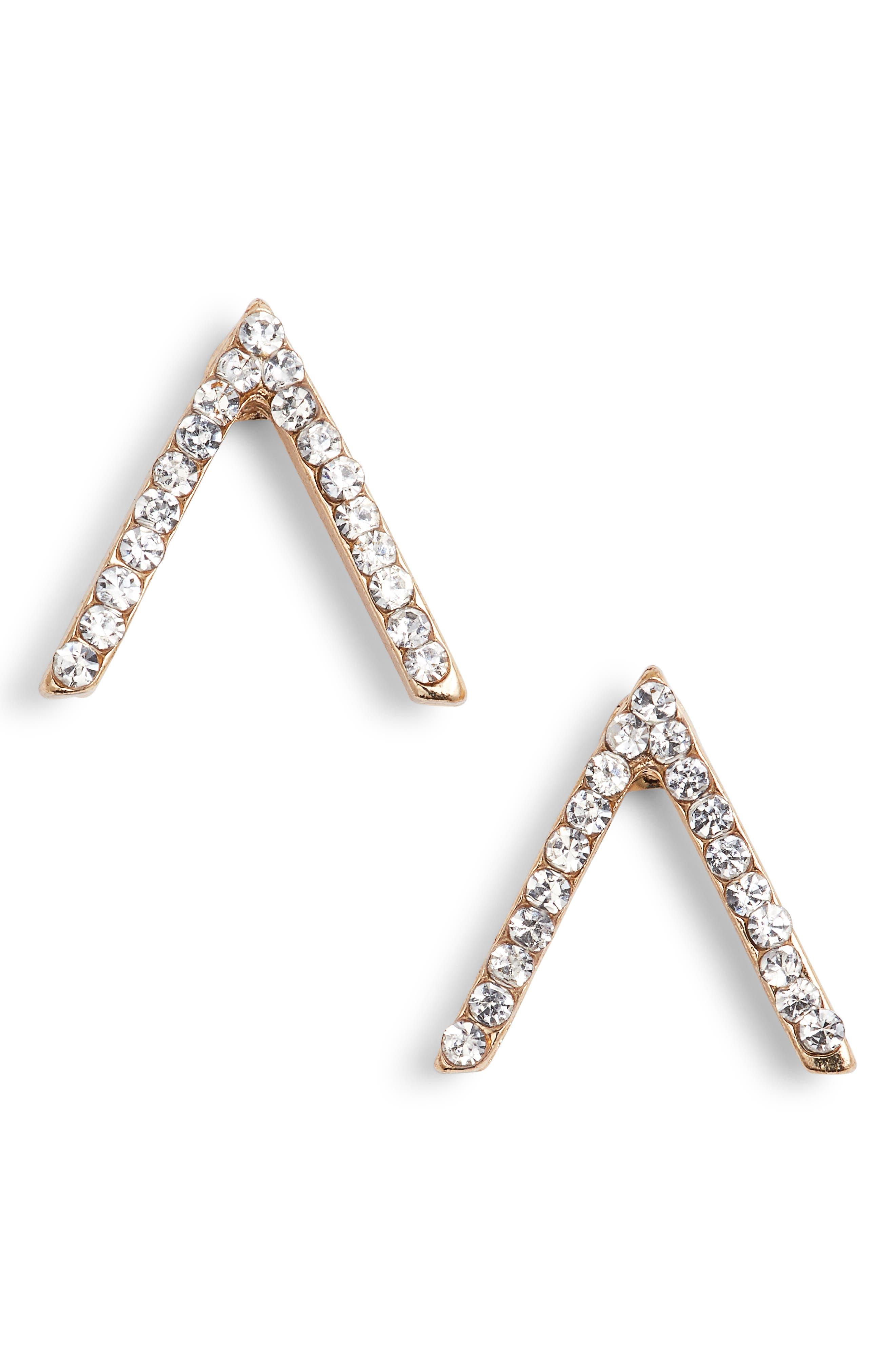 Crystal Chevron Stud Earrings,                             Main thumbnail 1, color,                             Gold