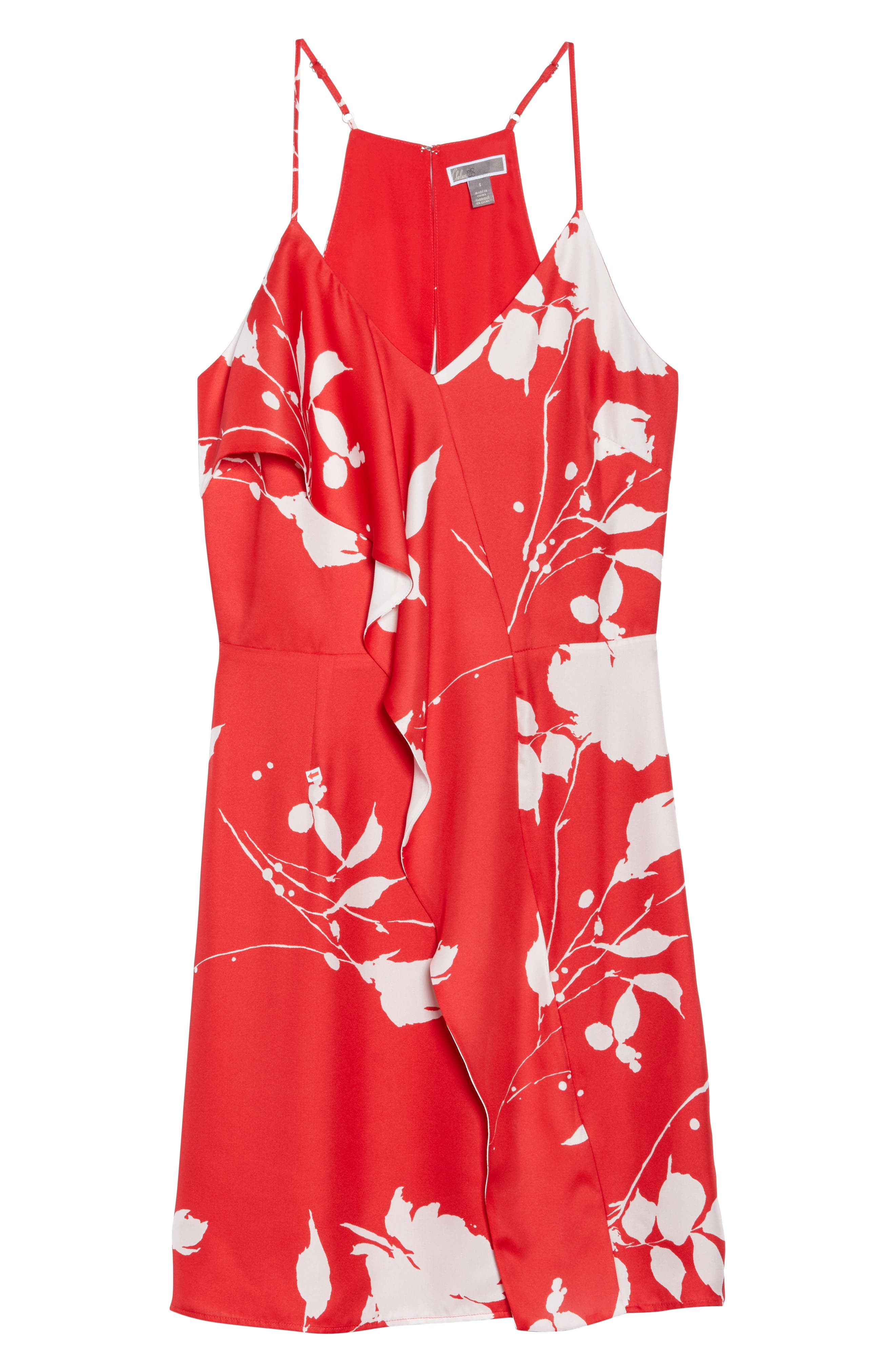 Floral Ruffle Front Sheath Dress,                             Alternate thumbnail 7, color,                             Red White Poppy
