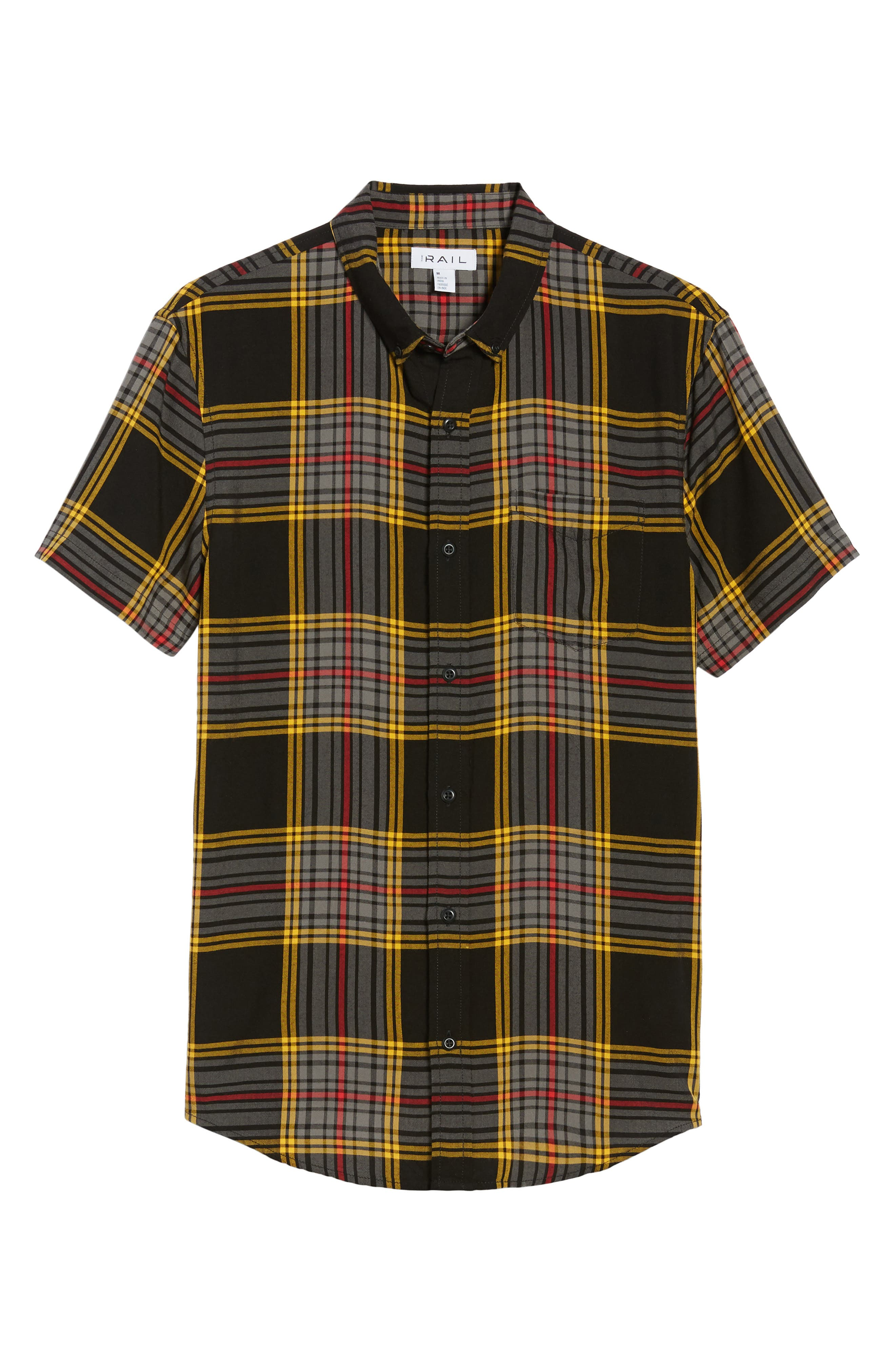 Yarn Dyed Plaid Shirt,                             Alternate thumbnail 6, color,                             Black Yellow Ethan Plaid