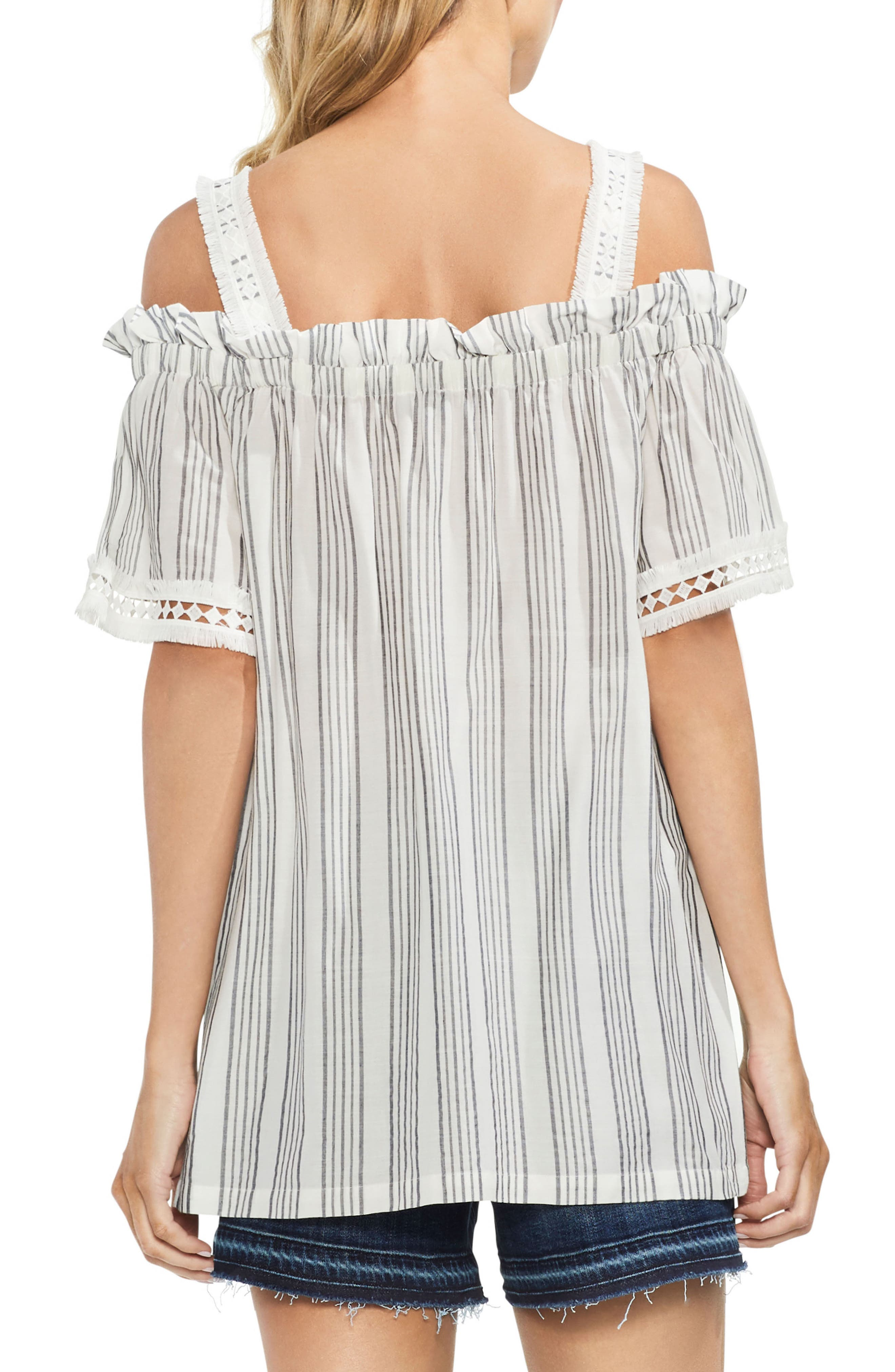 Cold Shoulder Striped Top,                             Alternate thumbnail 2, color,                             New Ivory