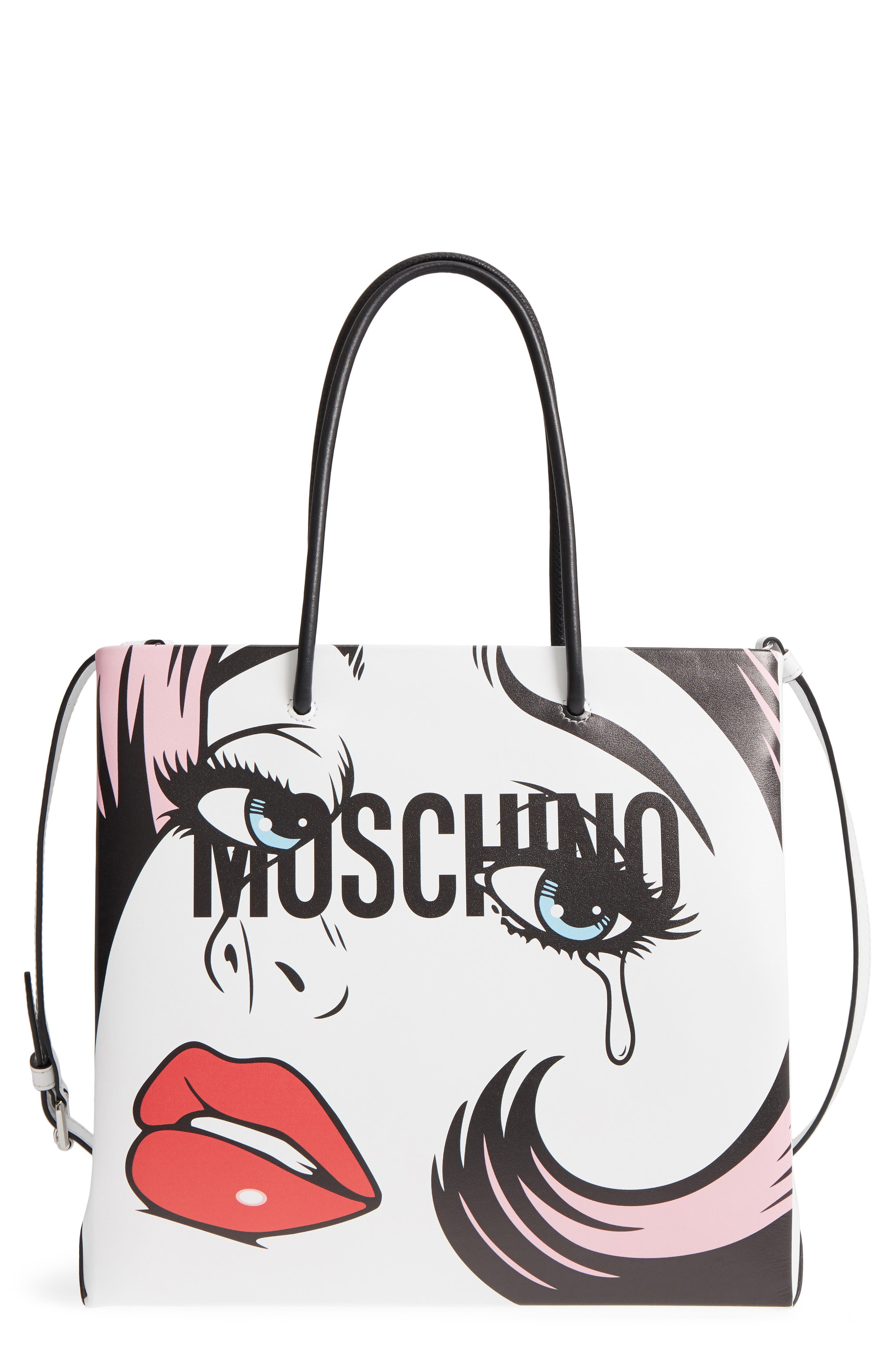 Graphic Print Leather Tote,                             Main thumbnail 1, color,                             White Multi