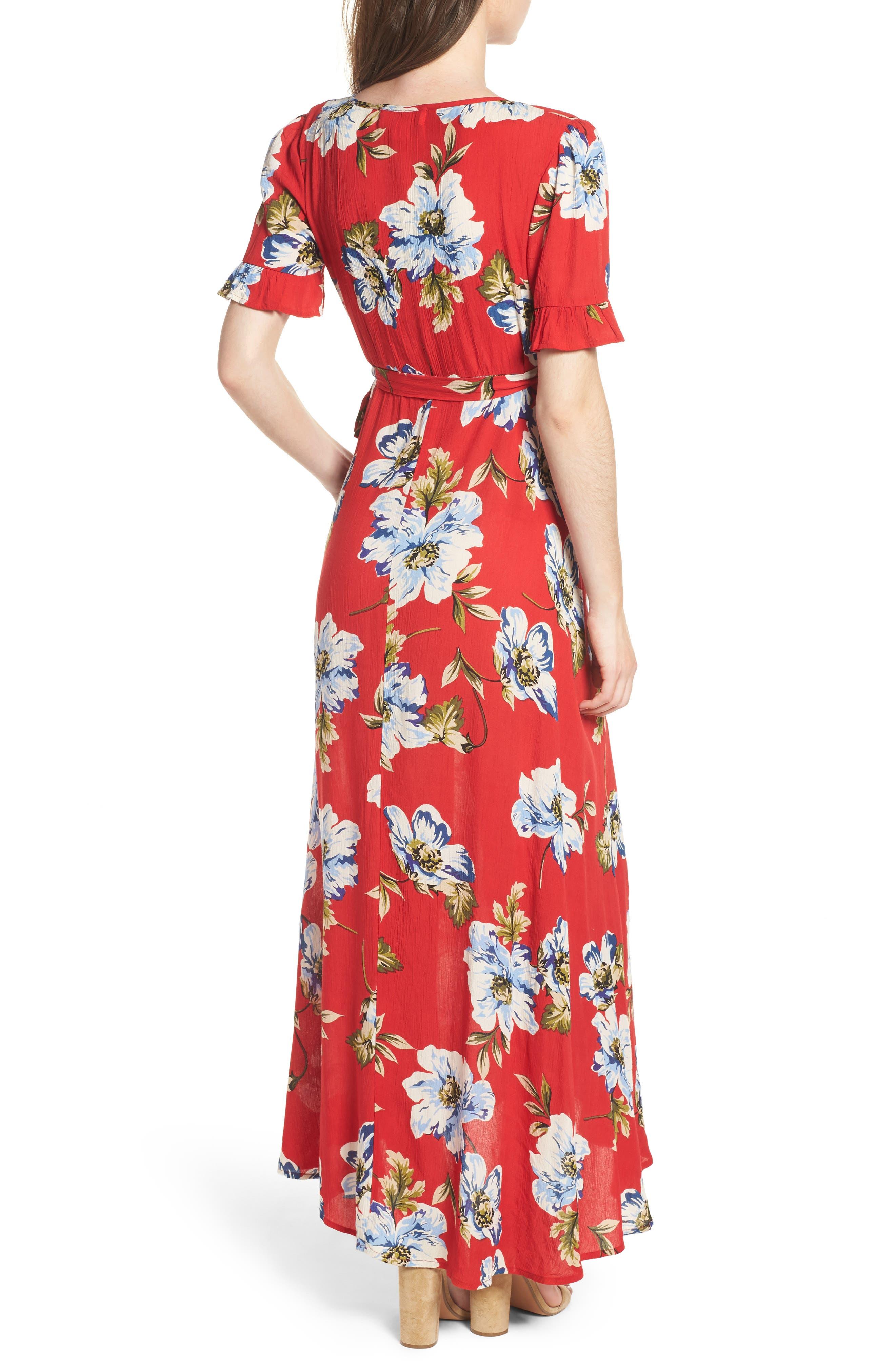 Blue Moon Floral Print Wrap Dress,                             Alternate thumbnail 2, color,                             Red/ Sky