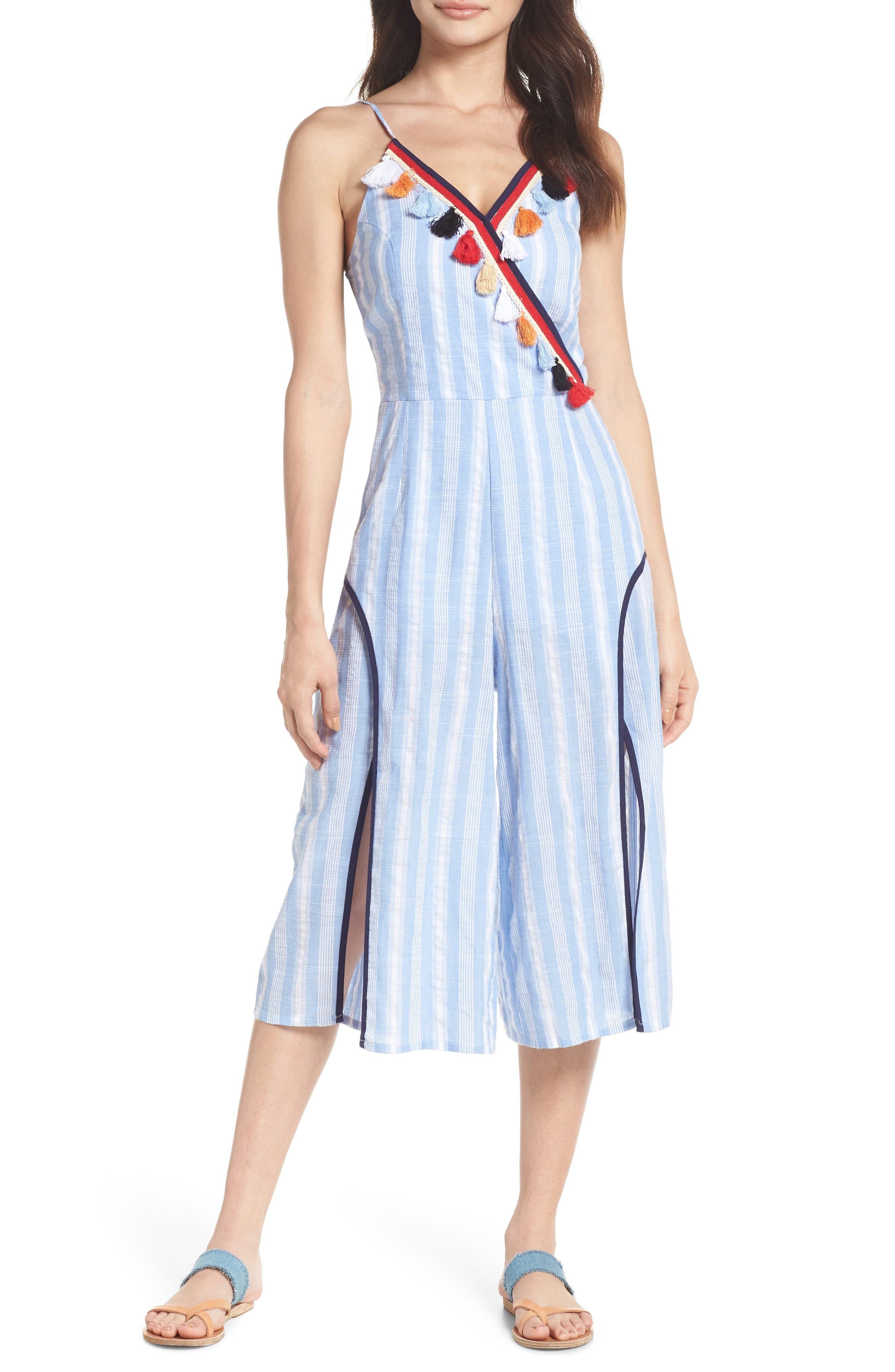 Stripe Fringe Jumpsuit,                         Main,                         color, Blue