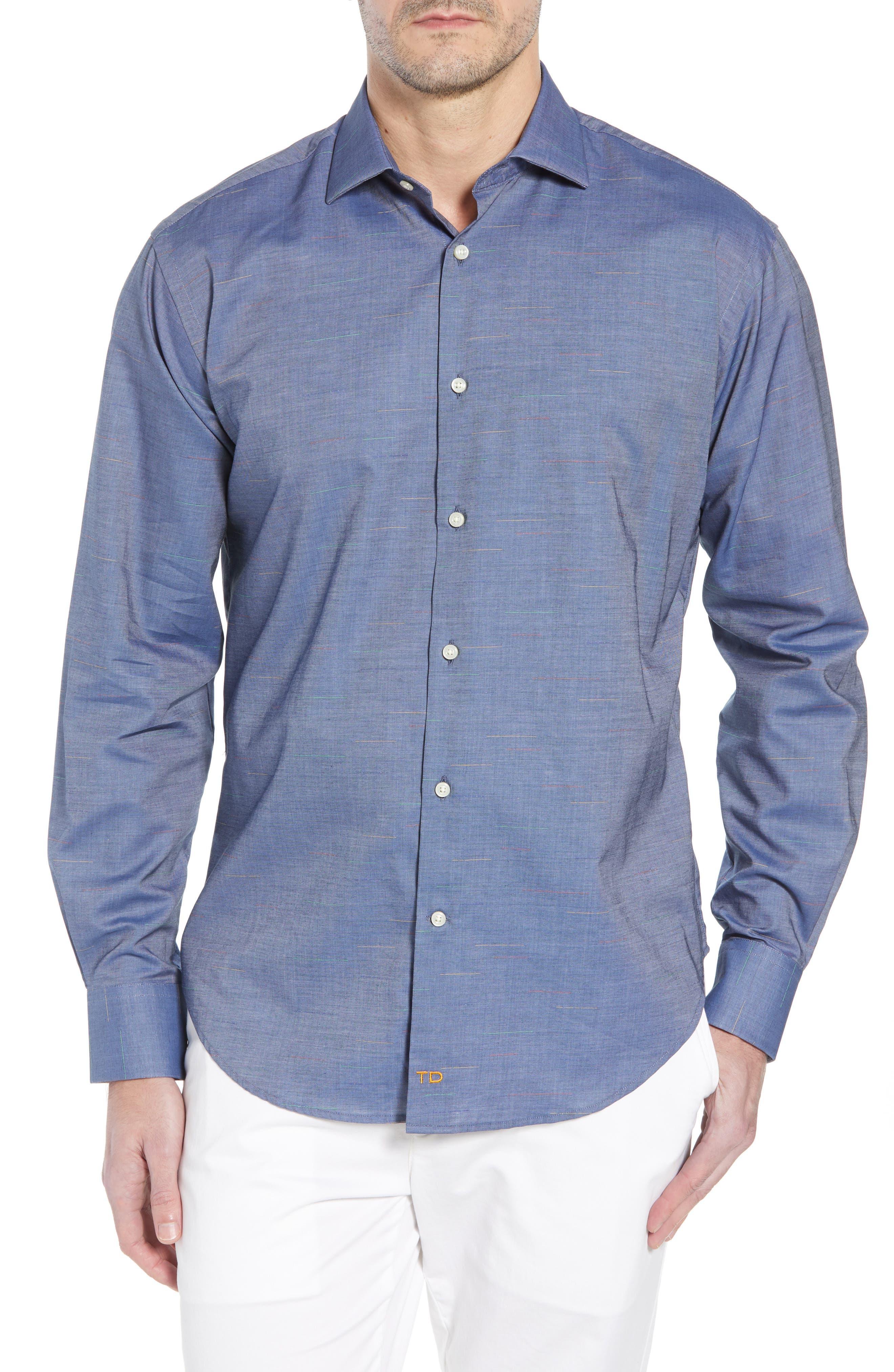Regular Fit Chambray Sport Shirt,                         Main,                         color, Blue