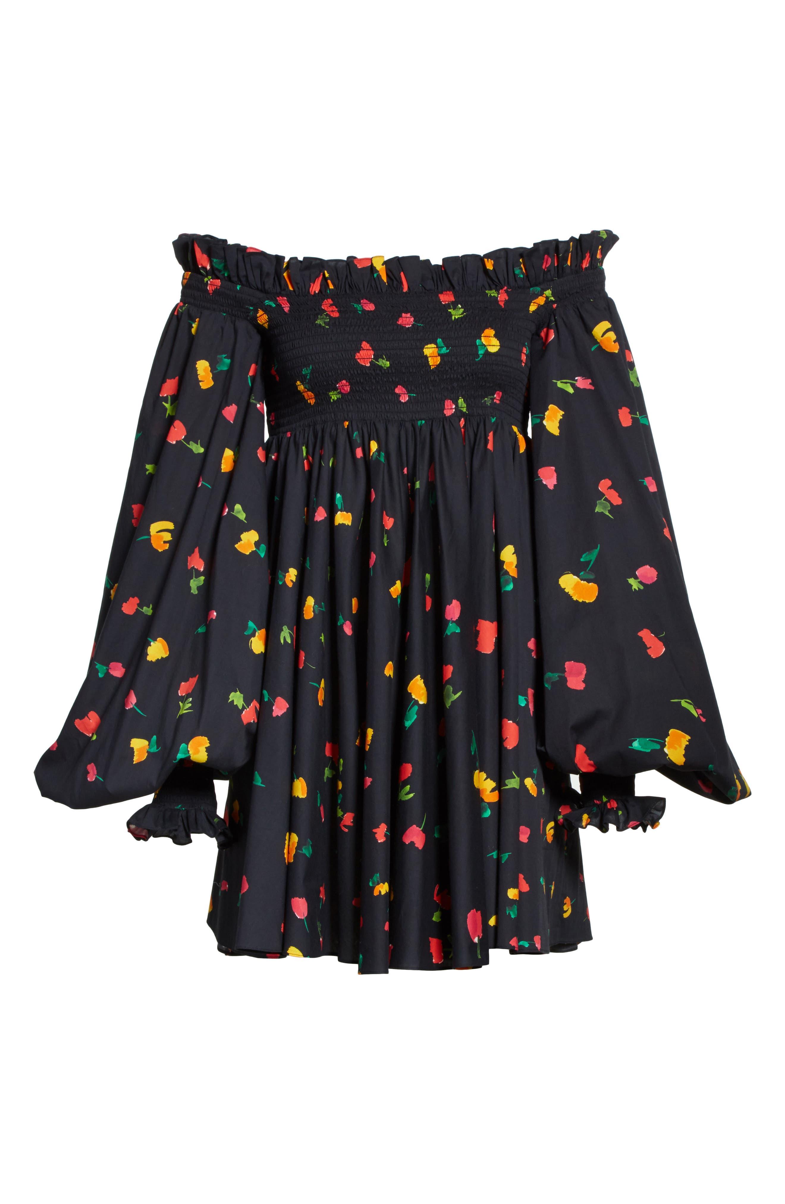 Kora Off the Shoulder Dress,                             Alternate thumbnail 6, color,                             Black