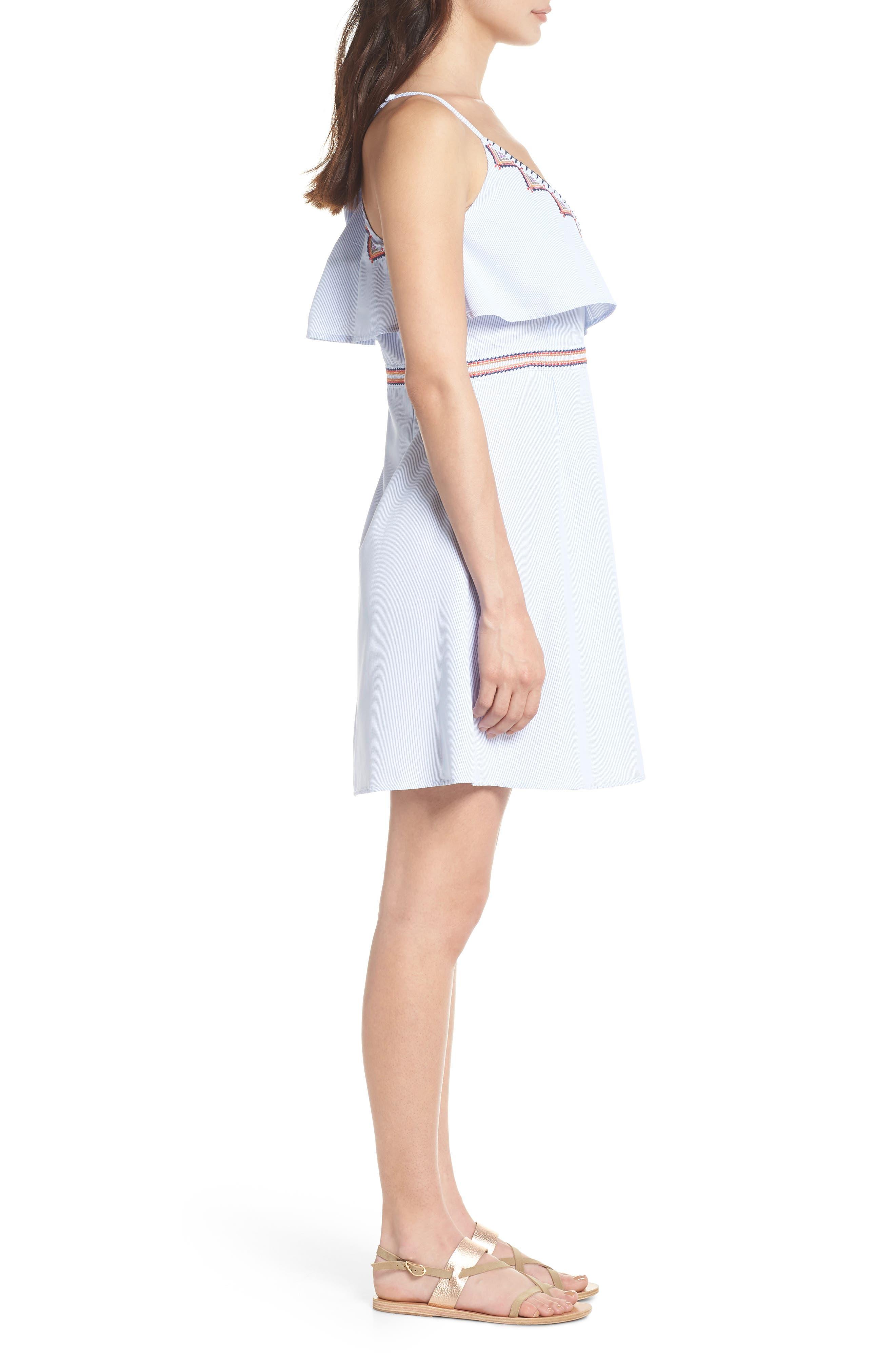 Stripe Wrap Dress,                             Alternate thumbnail 3, color,                             Blue
