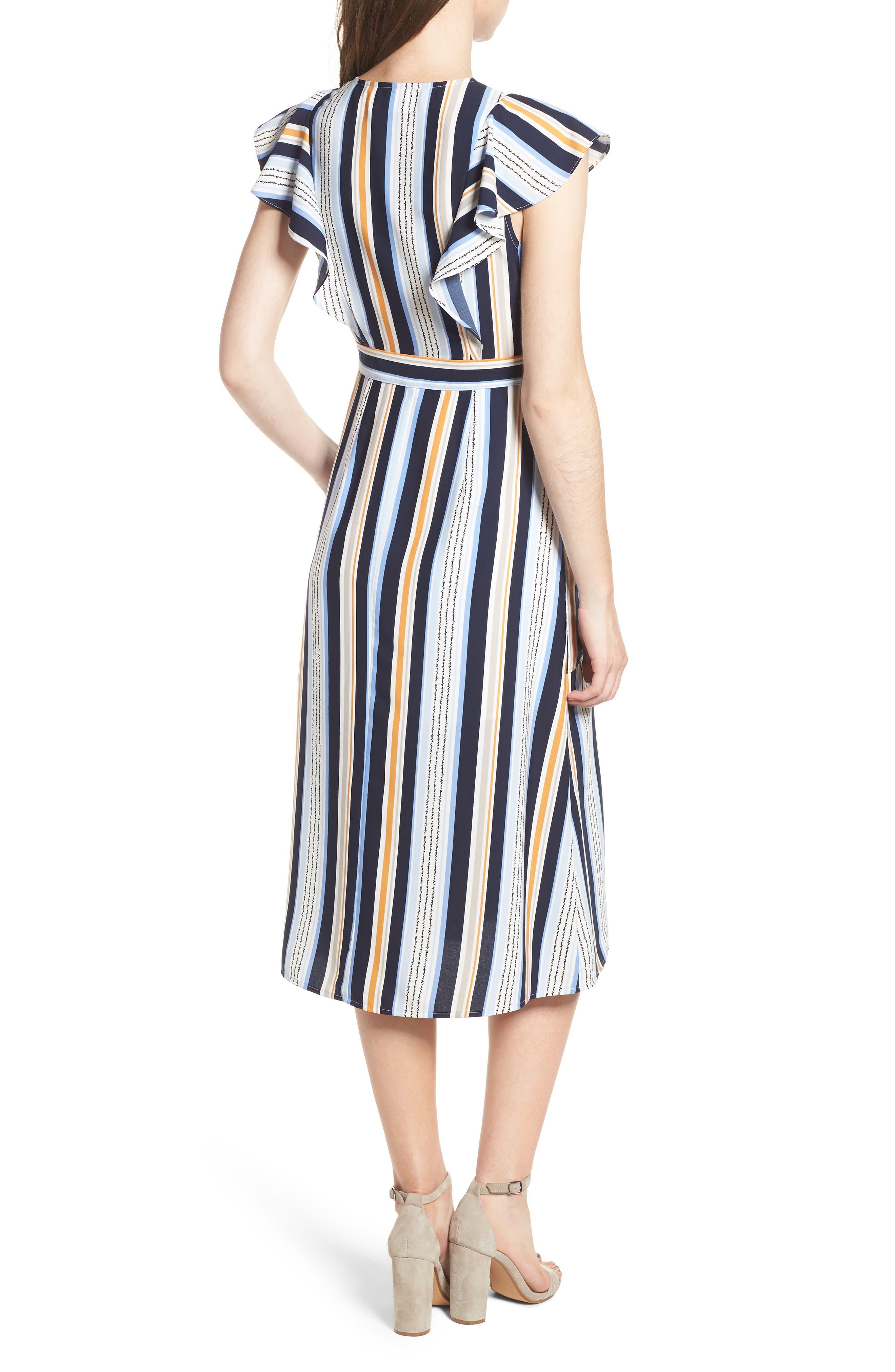 Claudia Stripe Midi Dress,                             Alternate thumbnail 3, color,                             Blue/ Orange Stripe