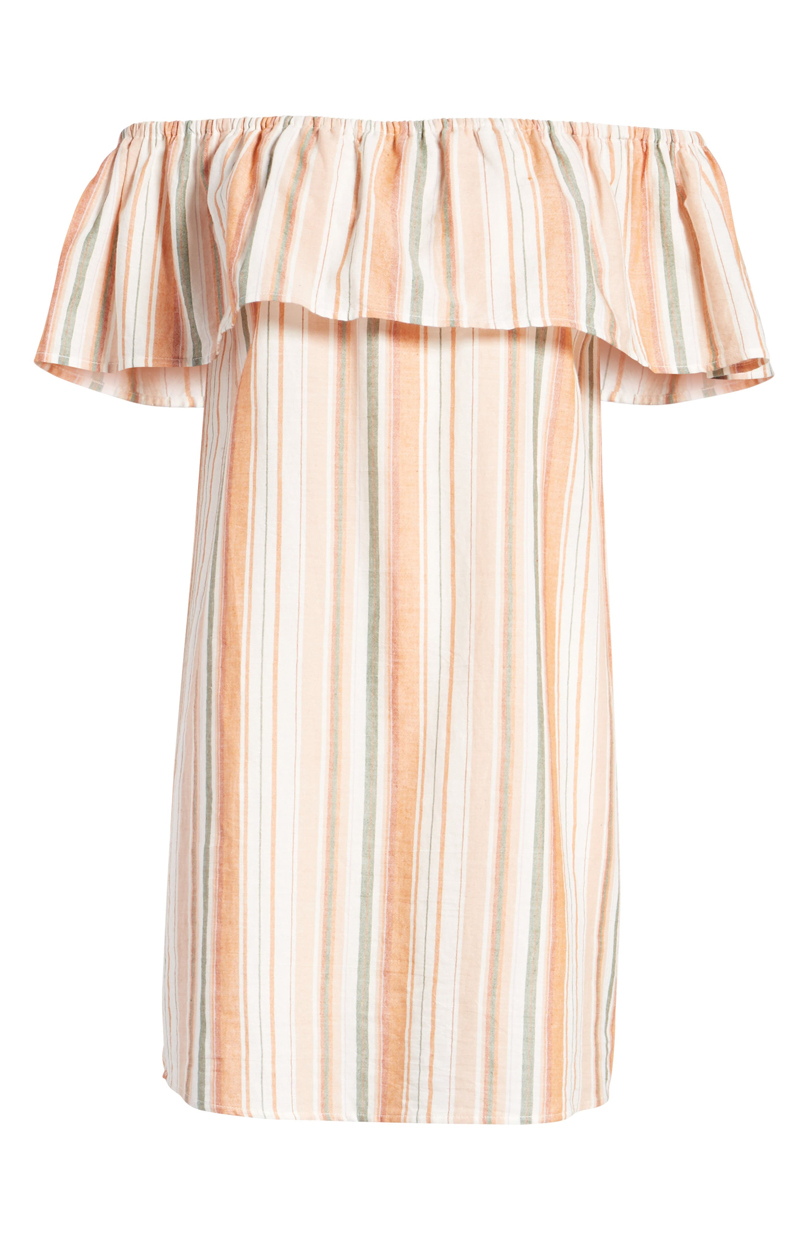Bishop + Young Sunset Stripe Off the Shoulder Dress,                             Alternate thumbnail 7, color,                             Orange White Stripe
