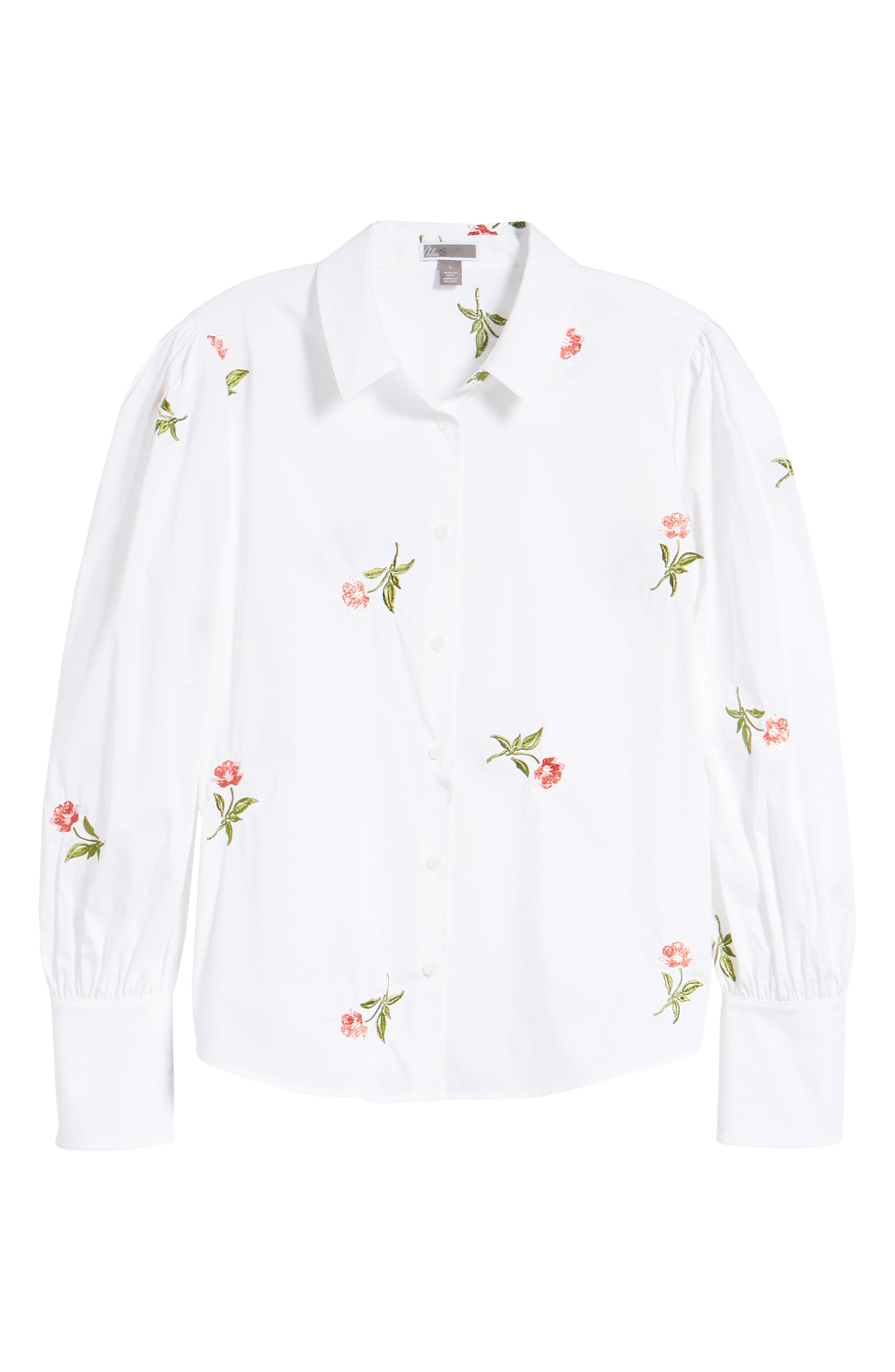 Embroidered Woven Shirt,                             Alternate thumbnail 7, color,                             White- Coral Bud Embroidery