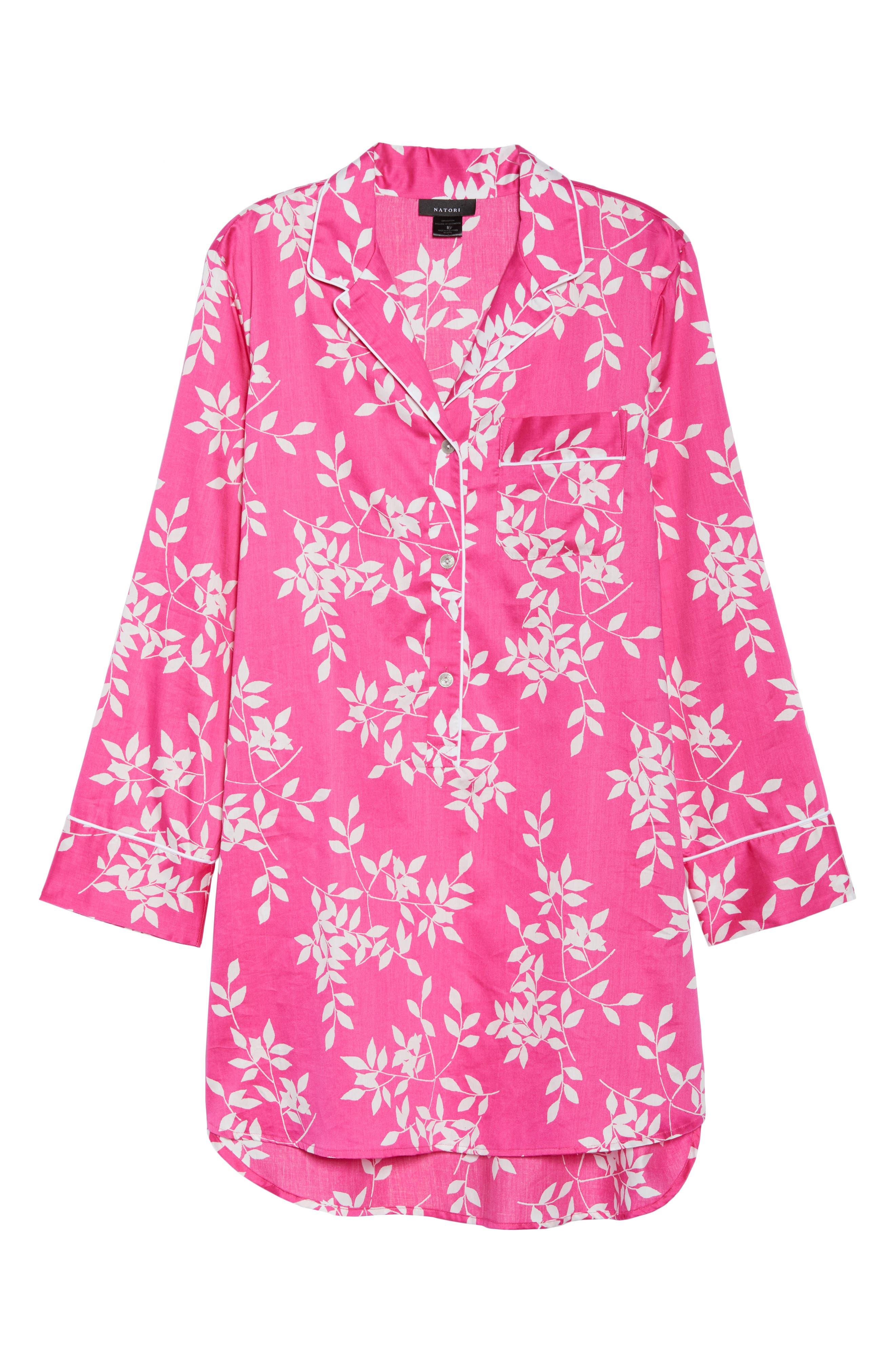 Branch Print Cotton Sateen Sleep Shirt,                             Alternate thumbnail 4, color,                             Hibiscus Pink