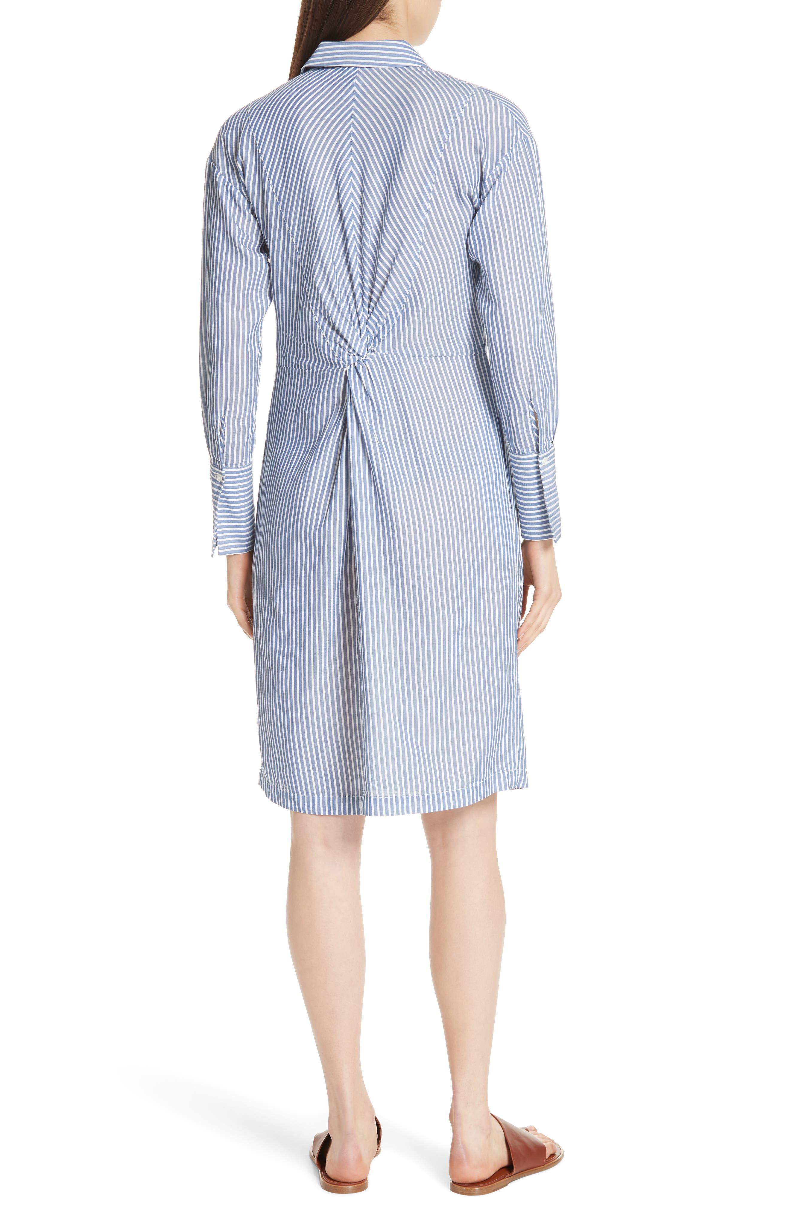Classic Stripe Twist Cotton Blend Shirtdress,                             Alternate thumbnail 2, color,                             White/ Blue