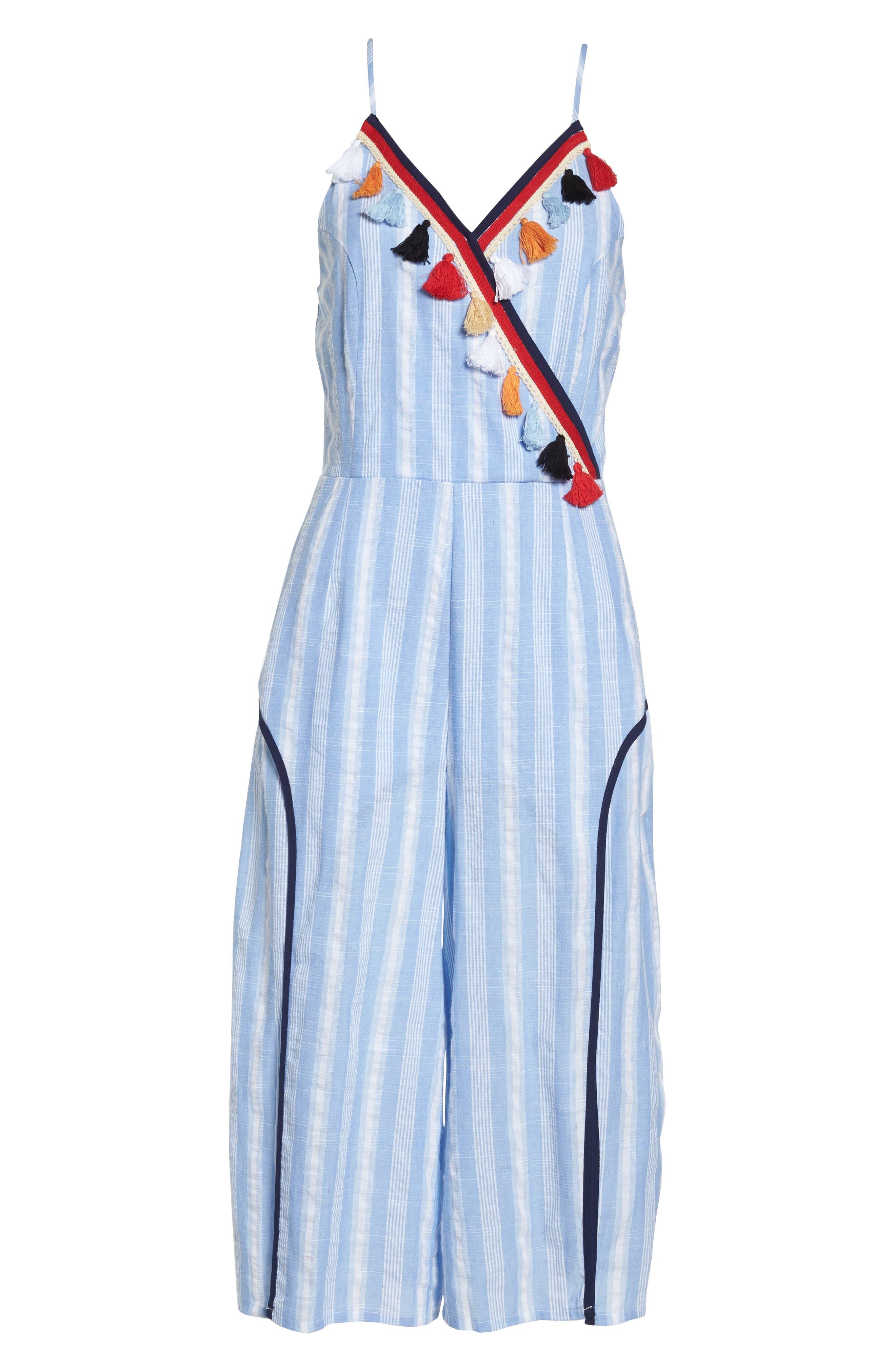Stripe Fringe Jumpsuit,                             Alternate thumbnail 7, color,                             Blue